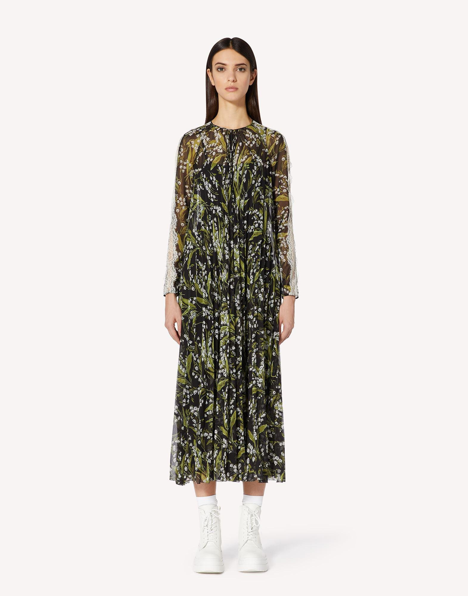 MAY LILY PRINTED MUSLIN PLEATED DRESS WITH LACE RIBBONS