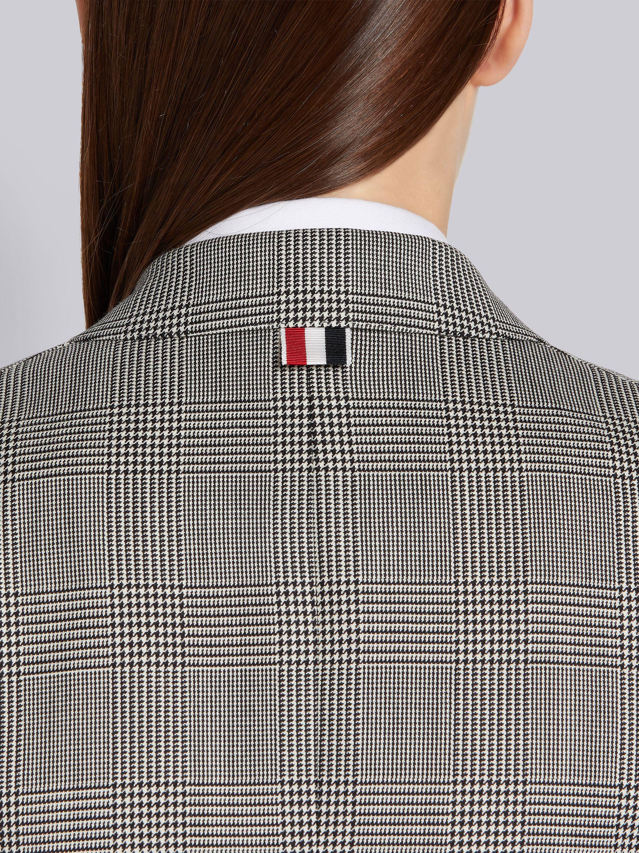 Black and White Wool Houndstooth High Armhole 4-Bar Jacket 4