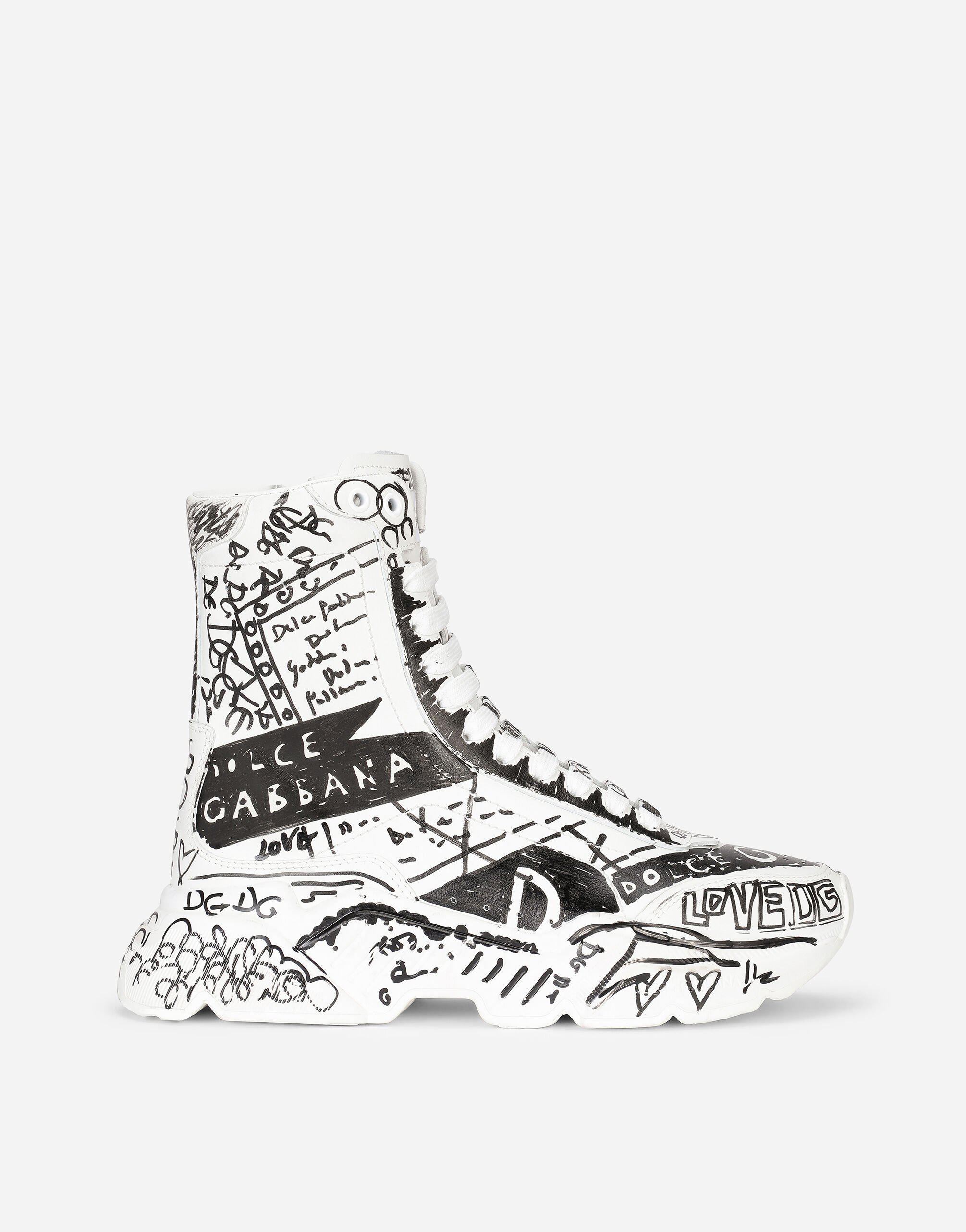 """Hand-painted """"graffiti"""" calfskin nappa Daymaster mid-top sneakers"""