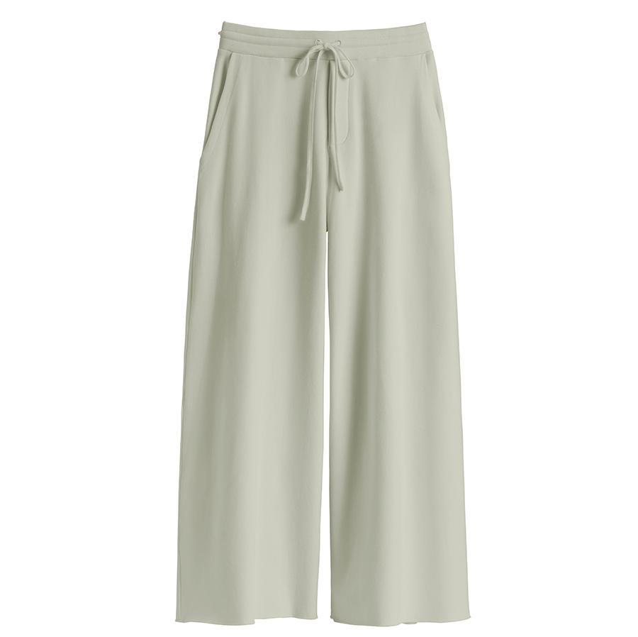 Women's French Terry Wide-Leg Cropped Pant in Sage | Size: