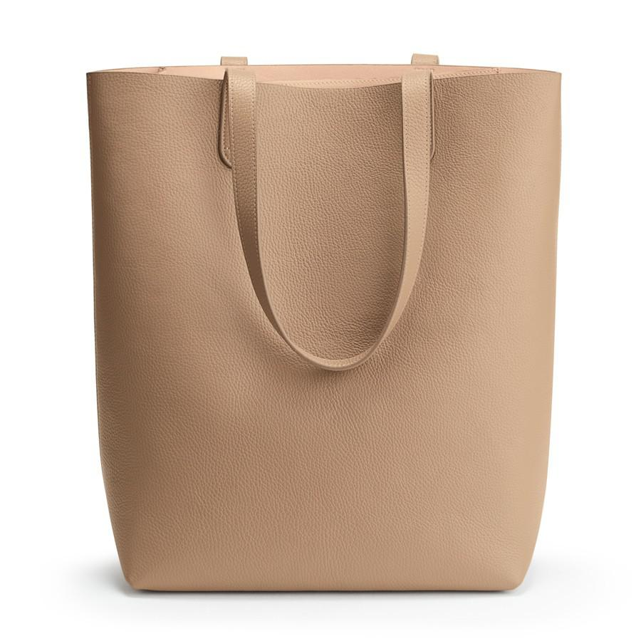 Women's Tall Structured Leather Tote Bag in Cappuccino/Blush Pink   Pebbled Leather by Cuyana