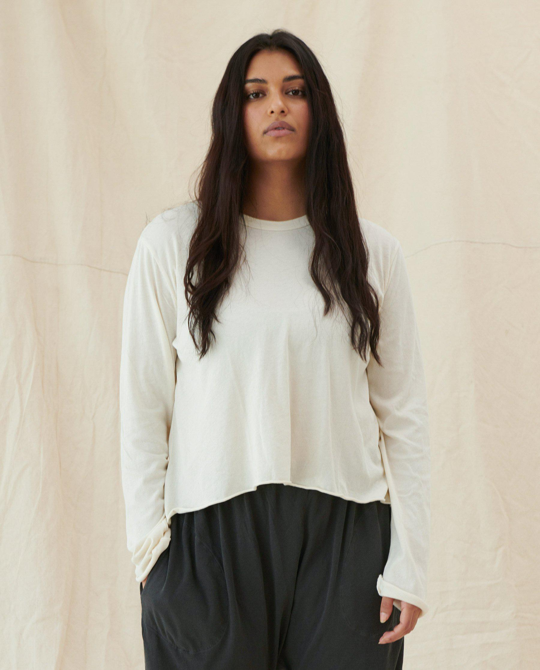 The Long Sleeve Crop Tee. -- Washed White