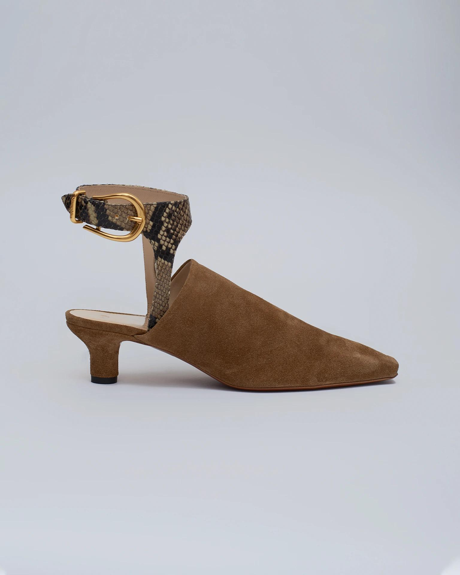 SABA - Suede open-toe sandals - Curry