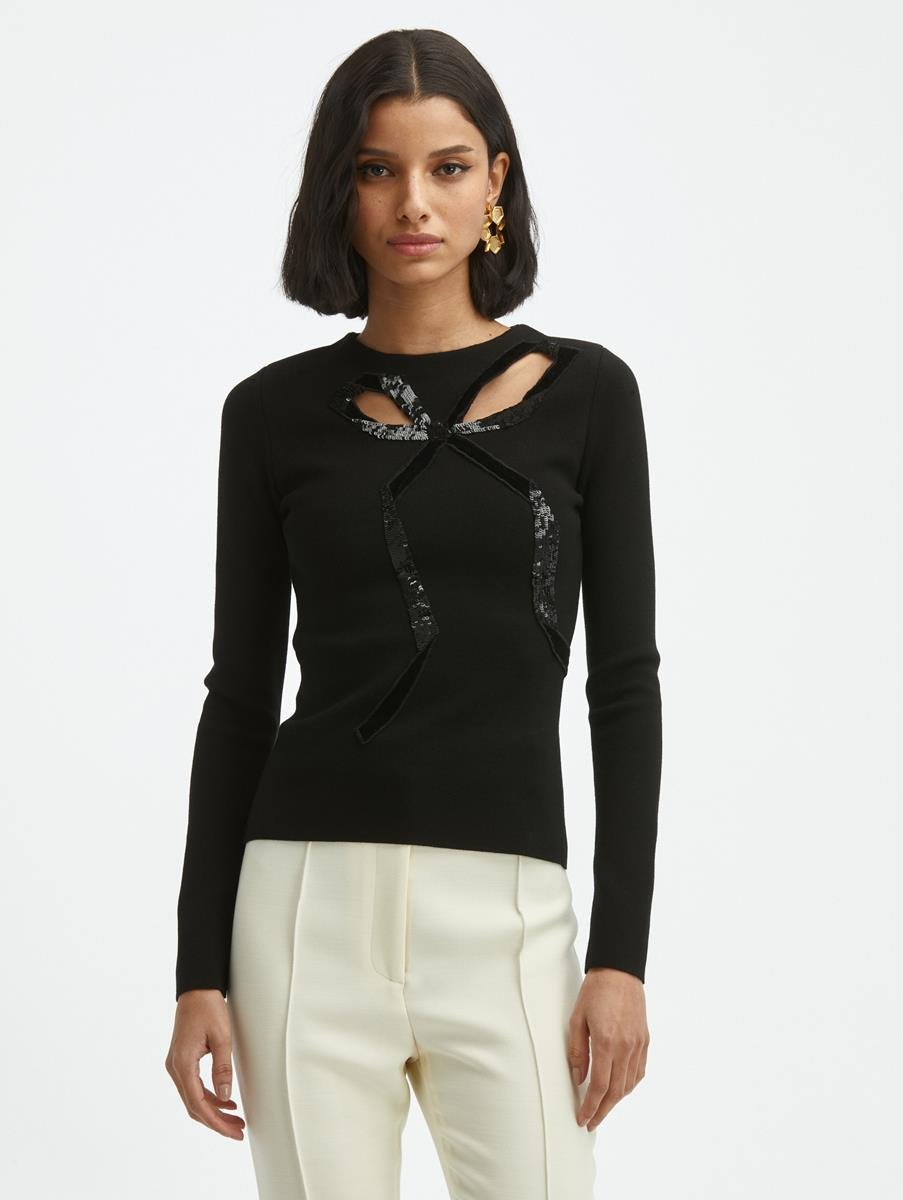 LASER CUT BOW KNIT PULLOVER
