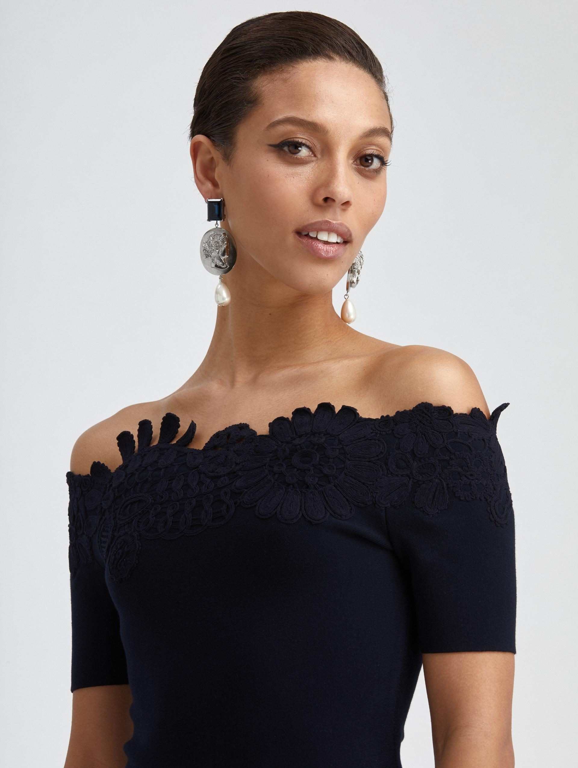EMBROIDERED FIT AND FLARE KNIT DRESS 2