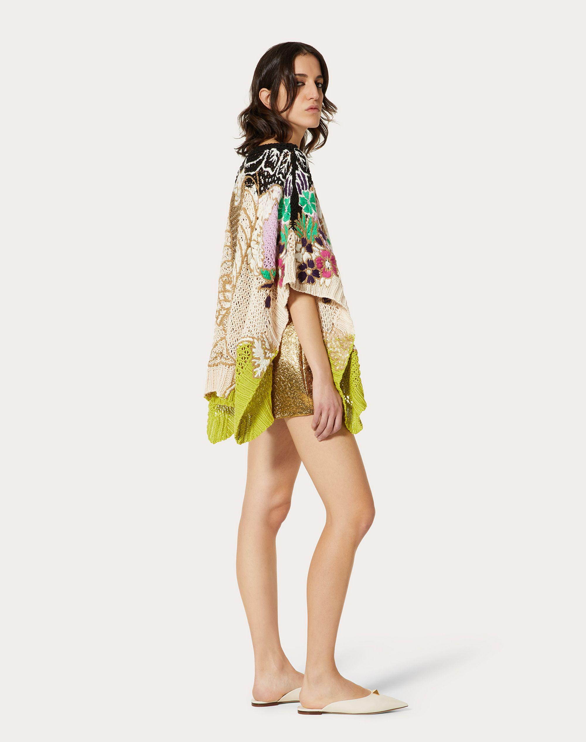 EMBROIDERED SWEATER IN COTTON LUREX WOOL