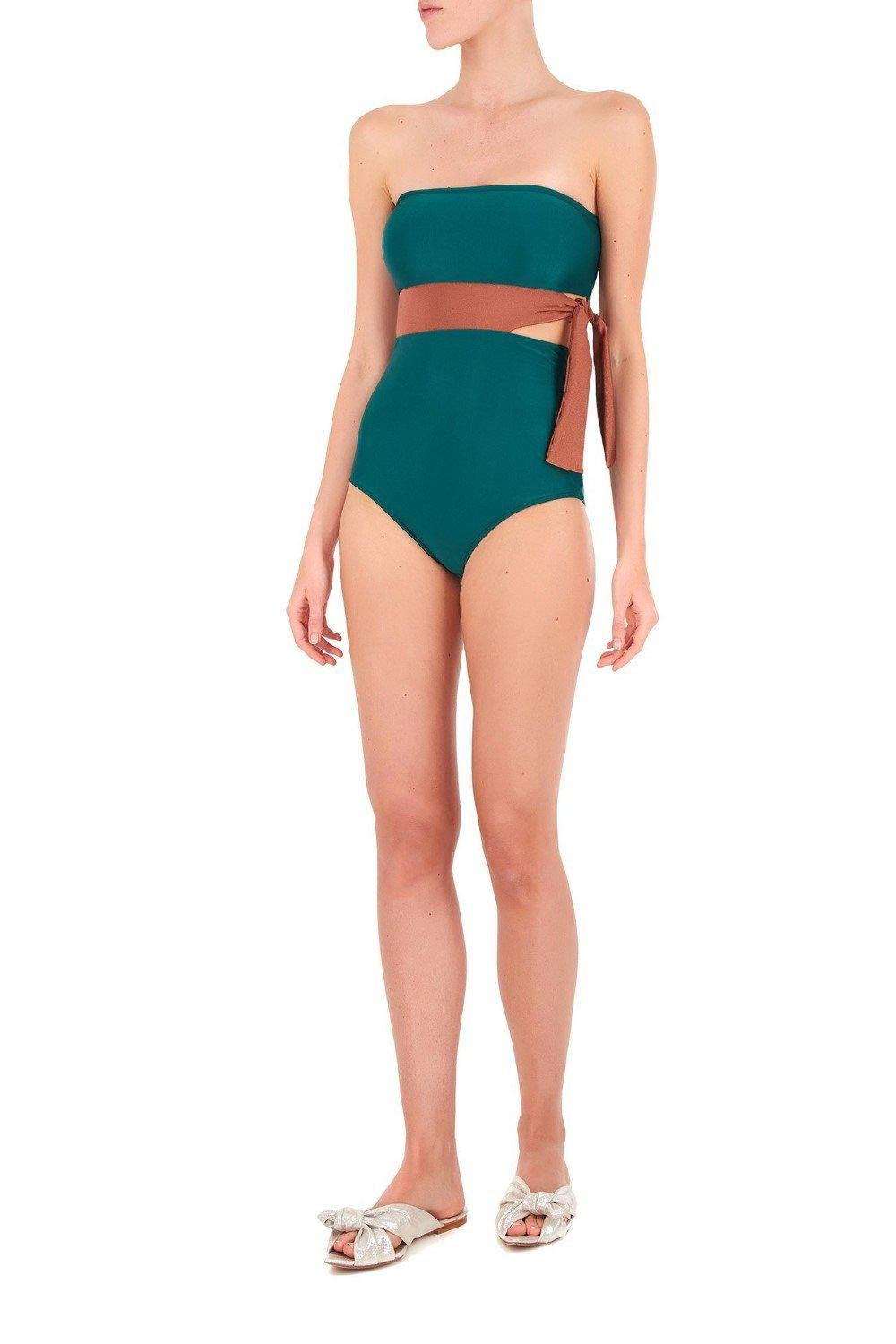 Cinque Terre Strapless Swimsuit with Knot Detail