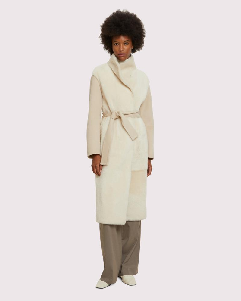long belted coat in cashmere woollen fabric and shearling blend
