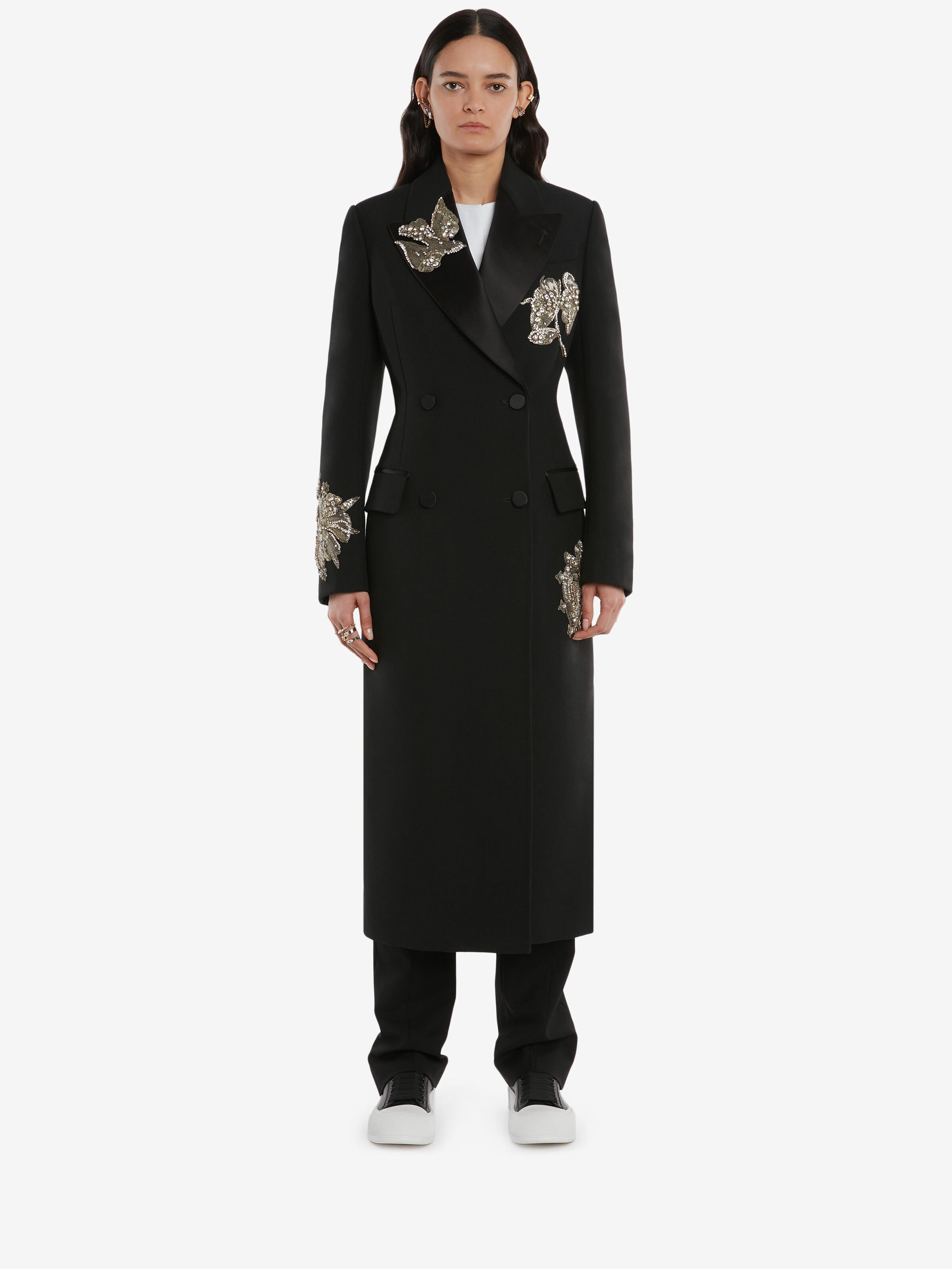 Embroidered Double Breasted Coat