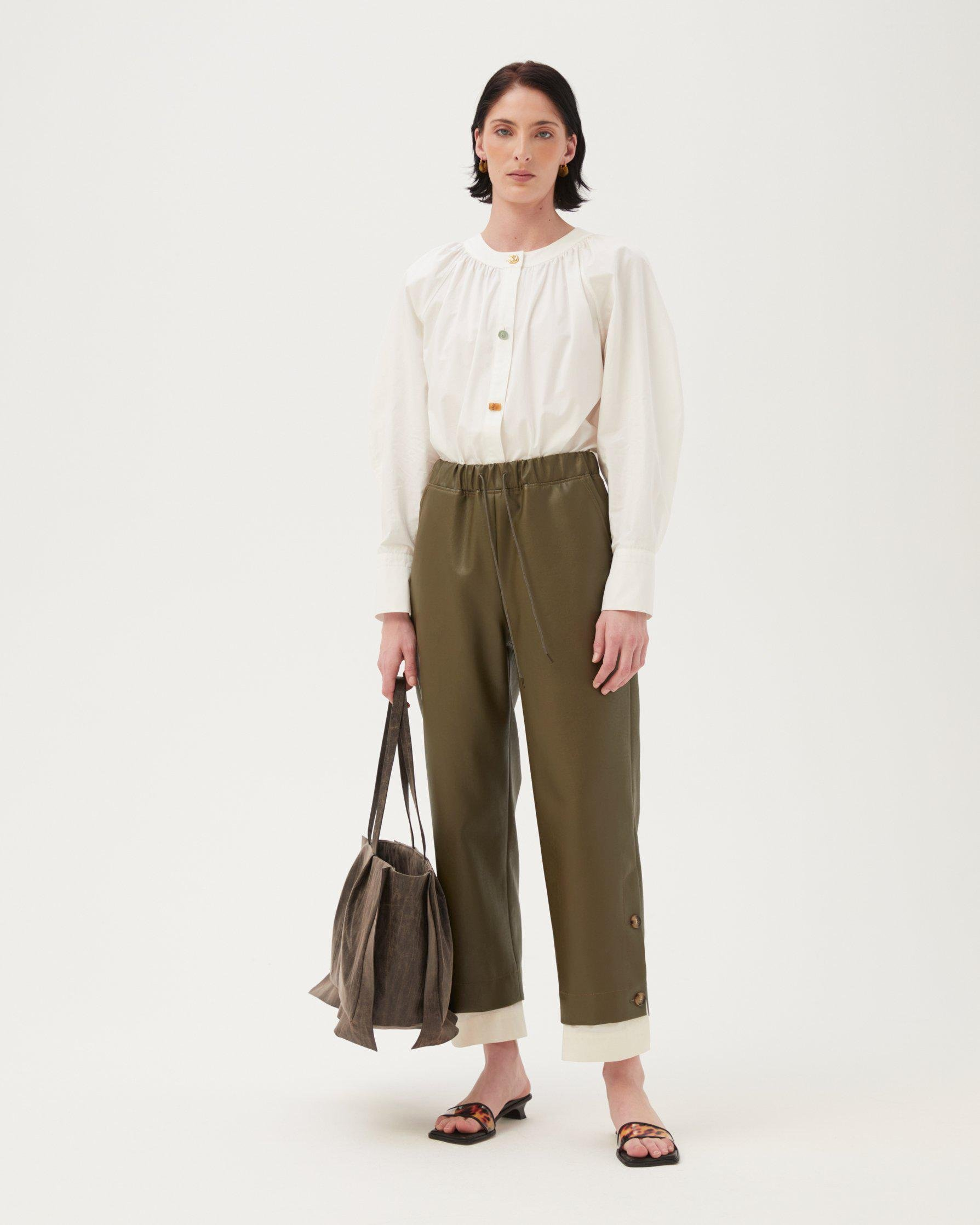 Noemi Trousers Faux Leather Green