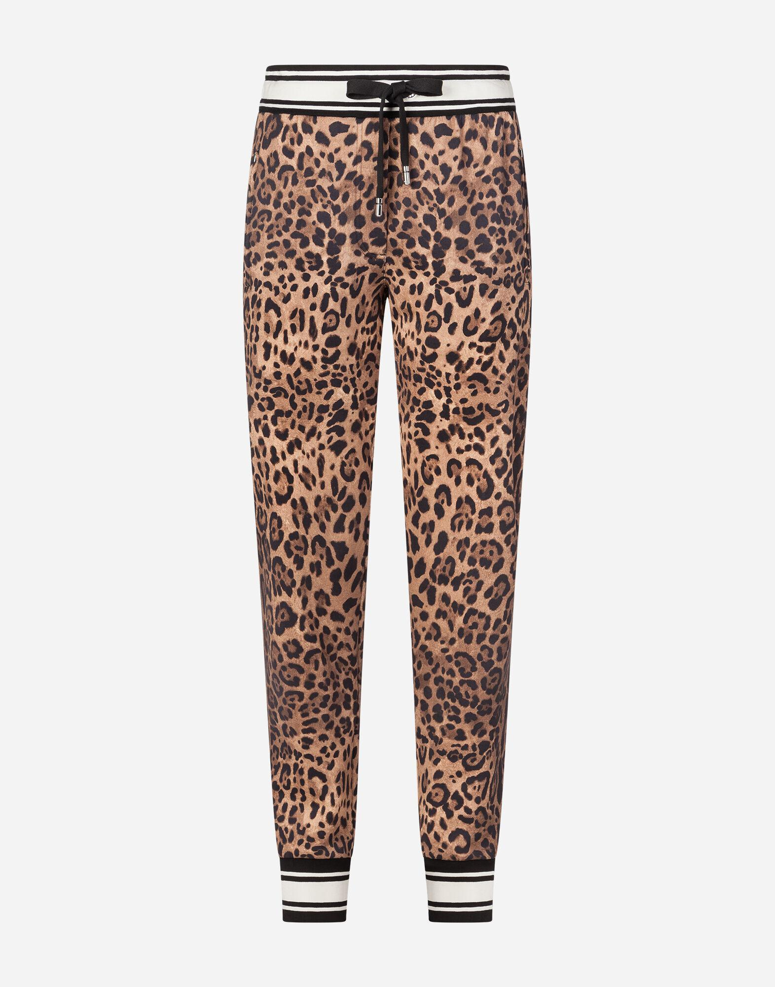 Jersey jogging pants with leopard print 3