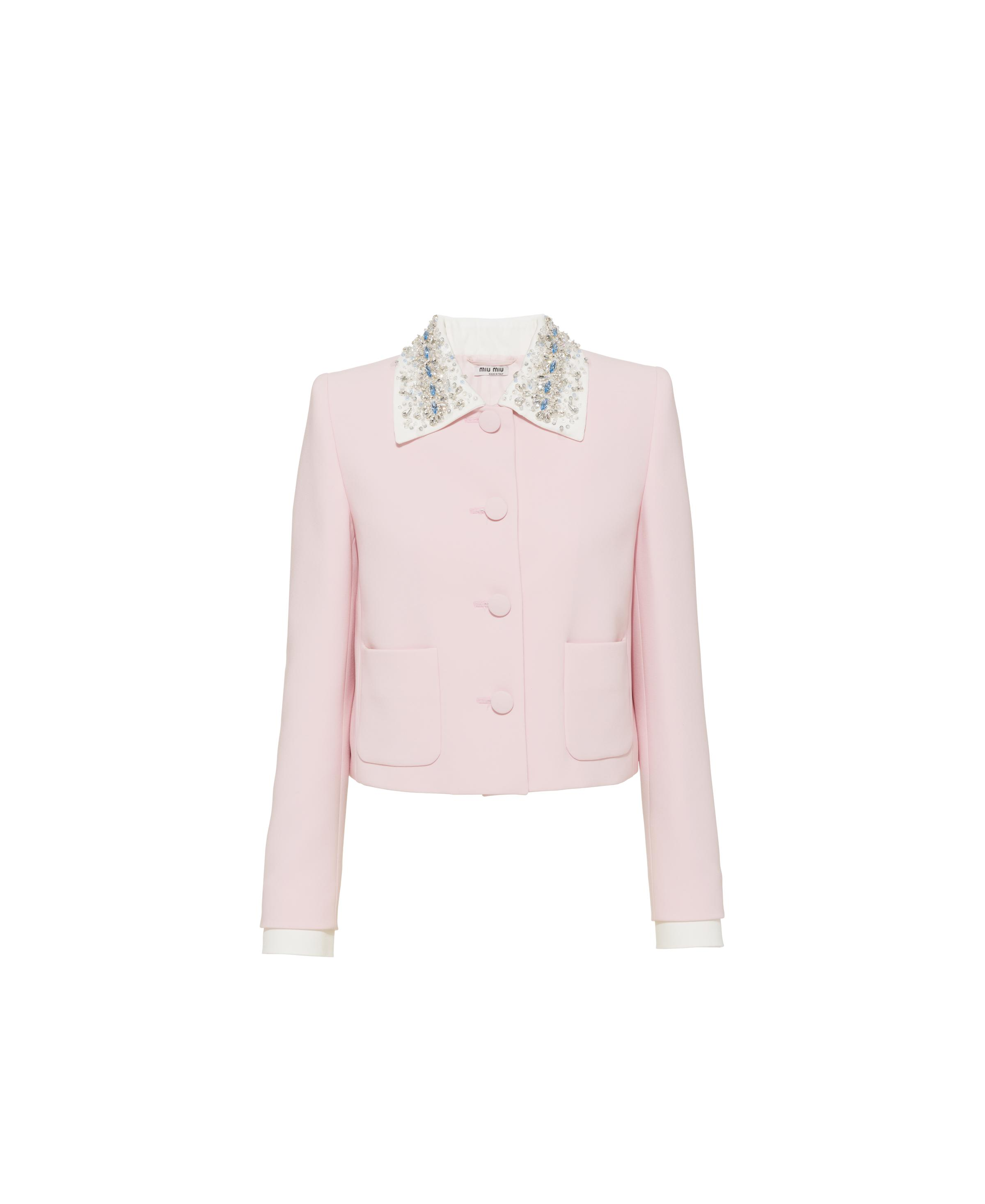 Single-breasted Embroidered Cady Jacket Women Pink