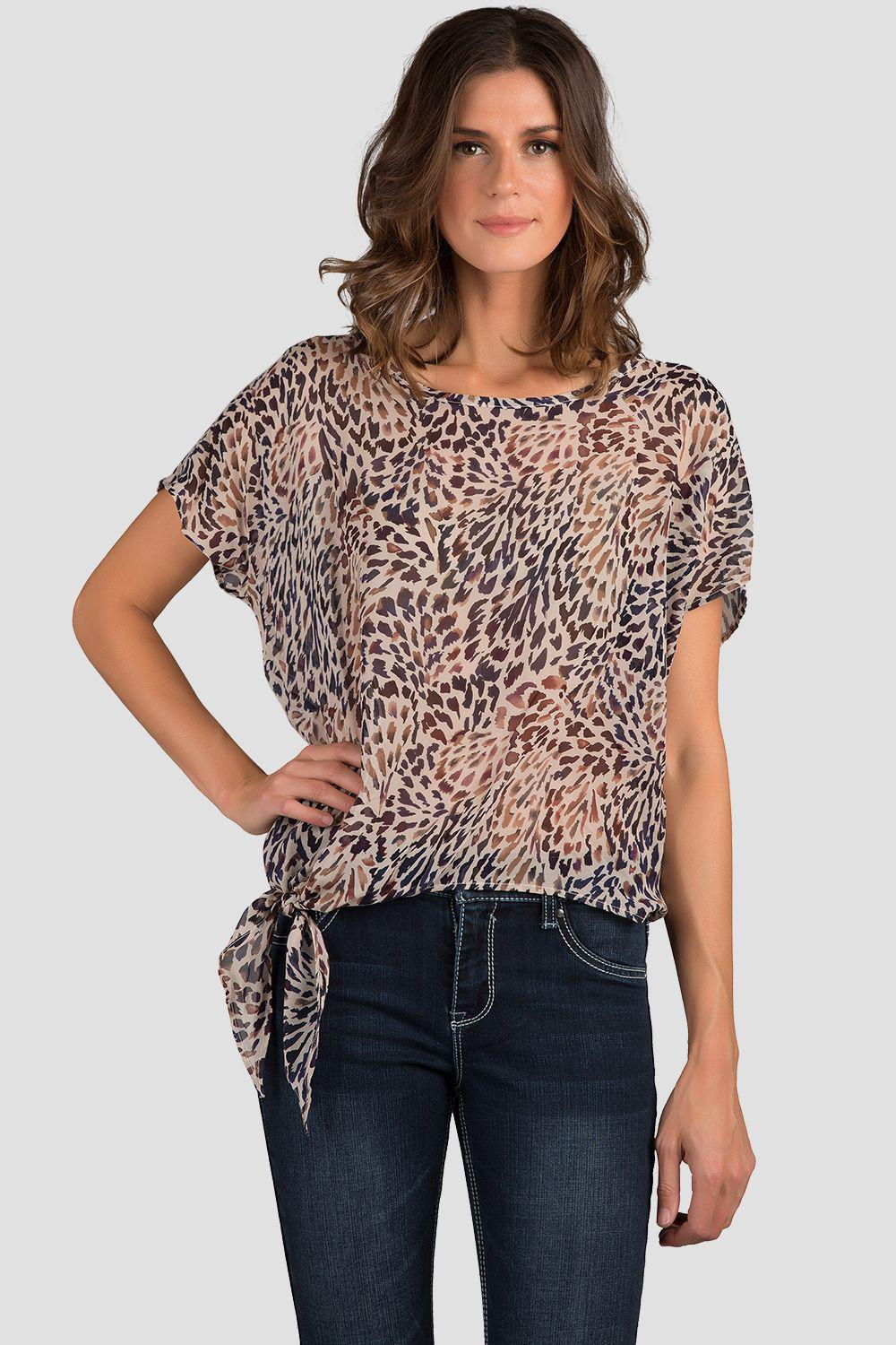 Anita Feathered Side Tie With Back Detail Silk Blouse