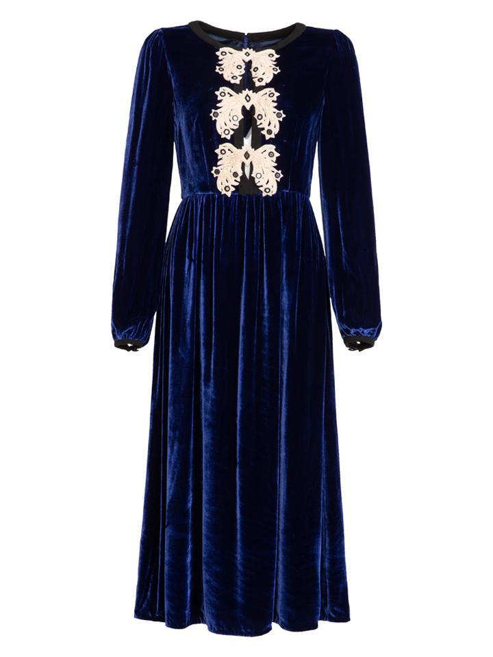 Camille Bows Dress in Midnight Blue with Star Applique