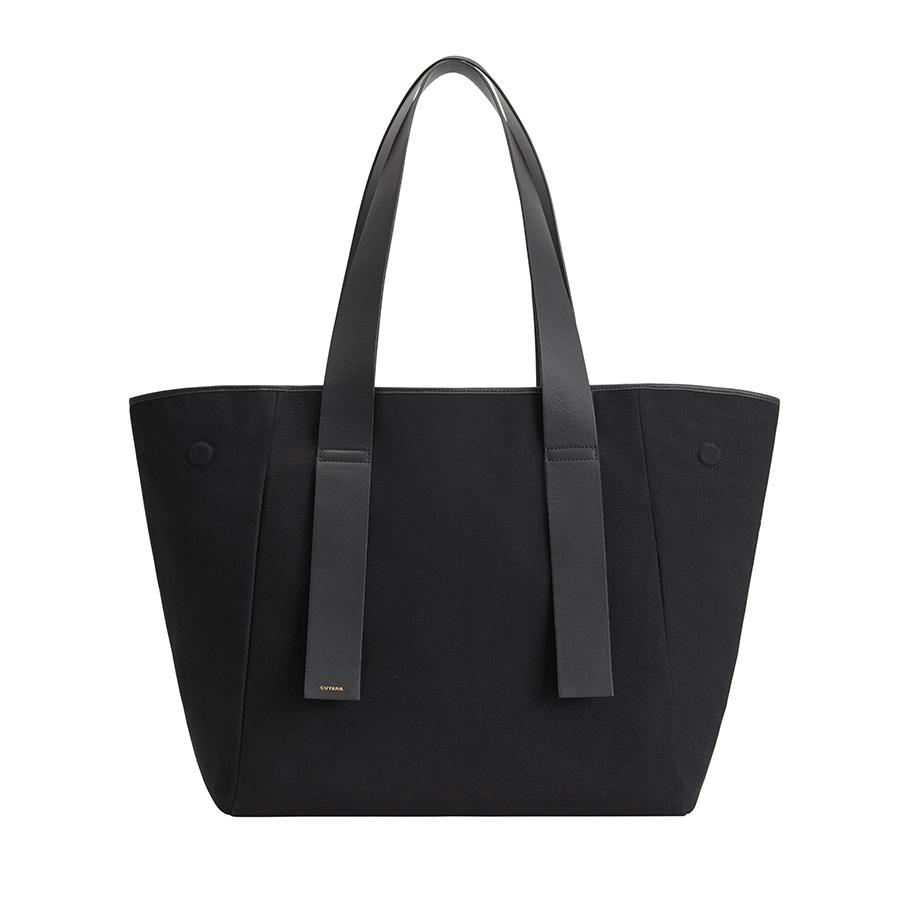 Women's Canvas Tote Bag in Black | Canvas & Smooth Leather by Cuyana