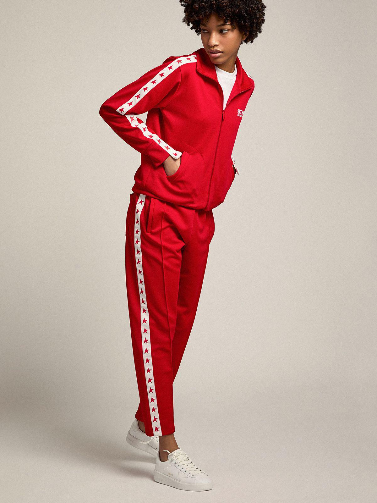Red Denise Star Collection zipped sweatshirt with red stars 2