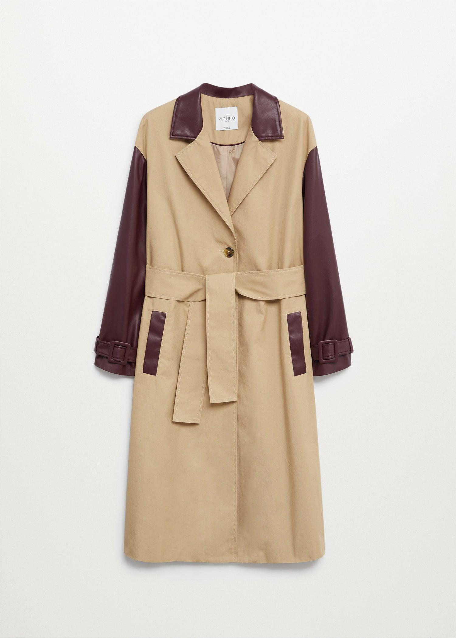 Combined leather-effect trench coat 7