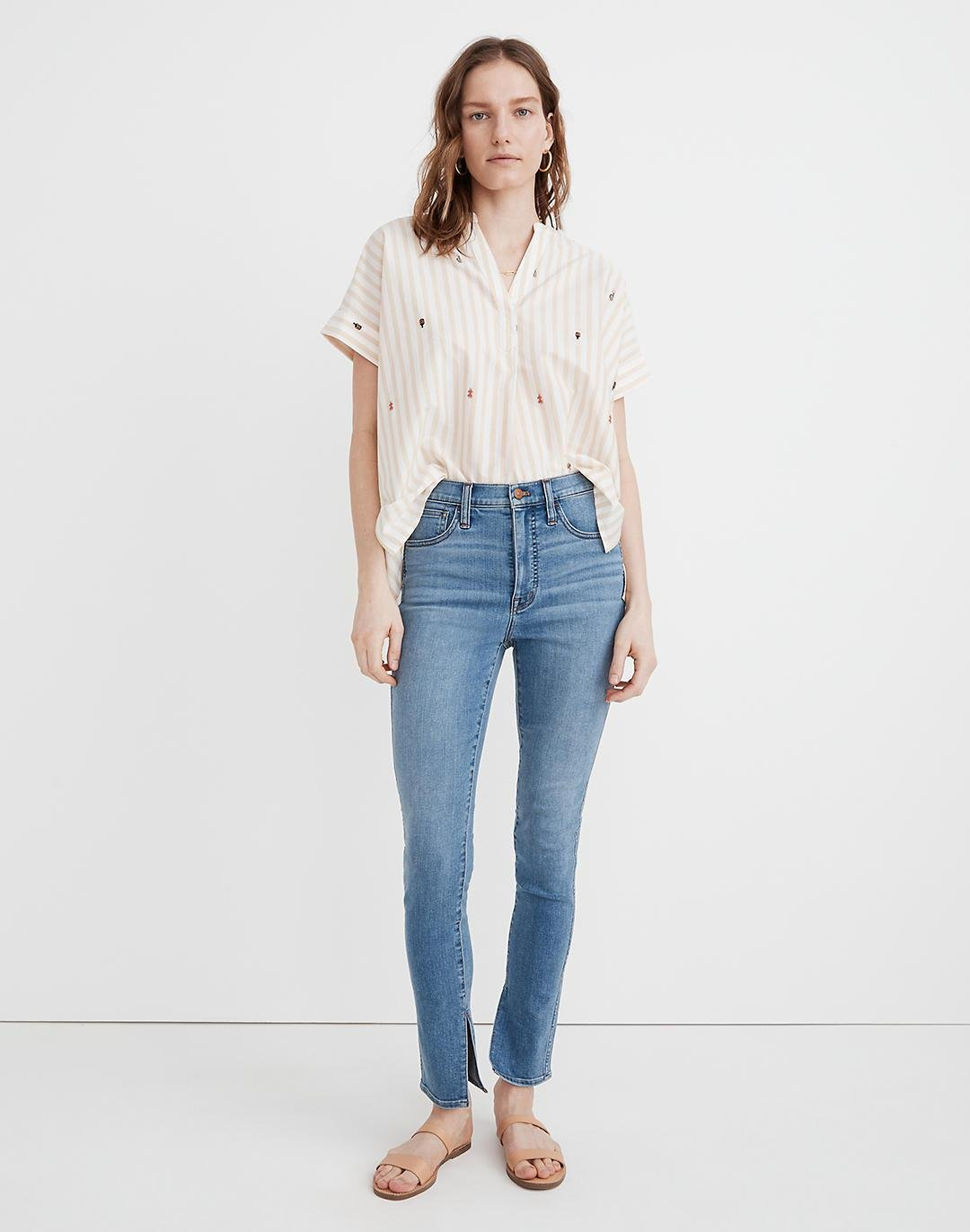 """10"""" High-Rise Roadtripper Supersoft Jeans in Minford Wash: Ankle-Slit Edition"""