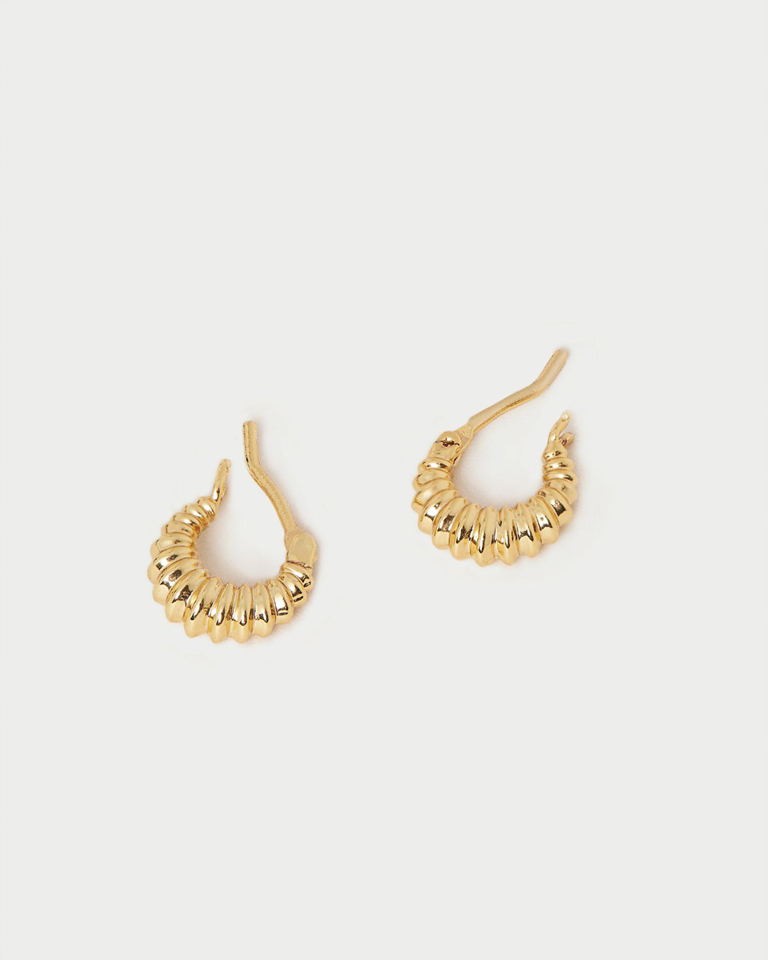 Andy Gold Pleated Hoop Earring 1