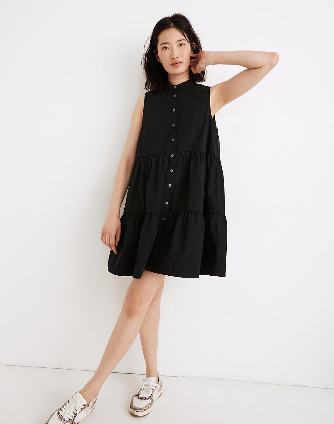 Banded-Collar Tiered Dress 0