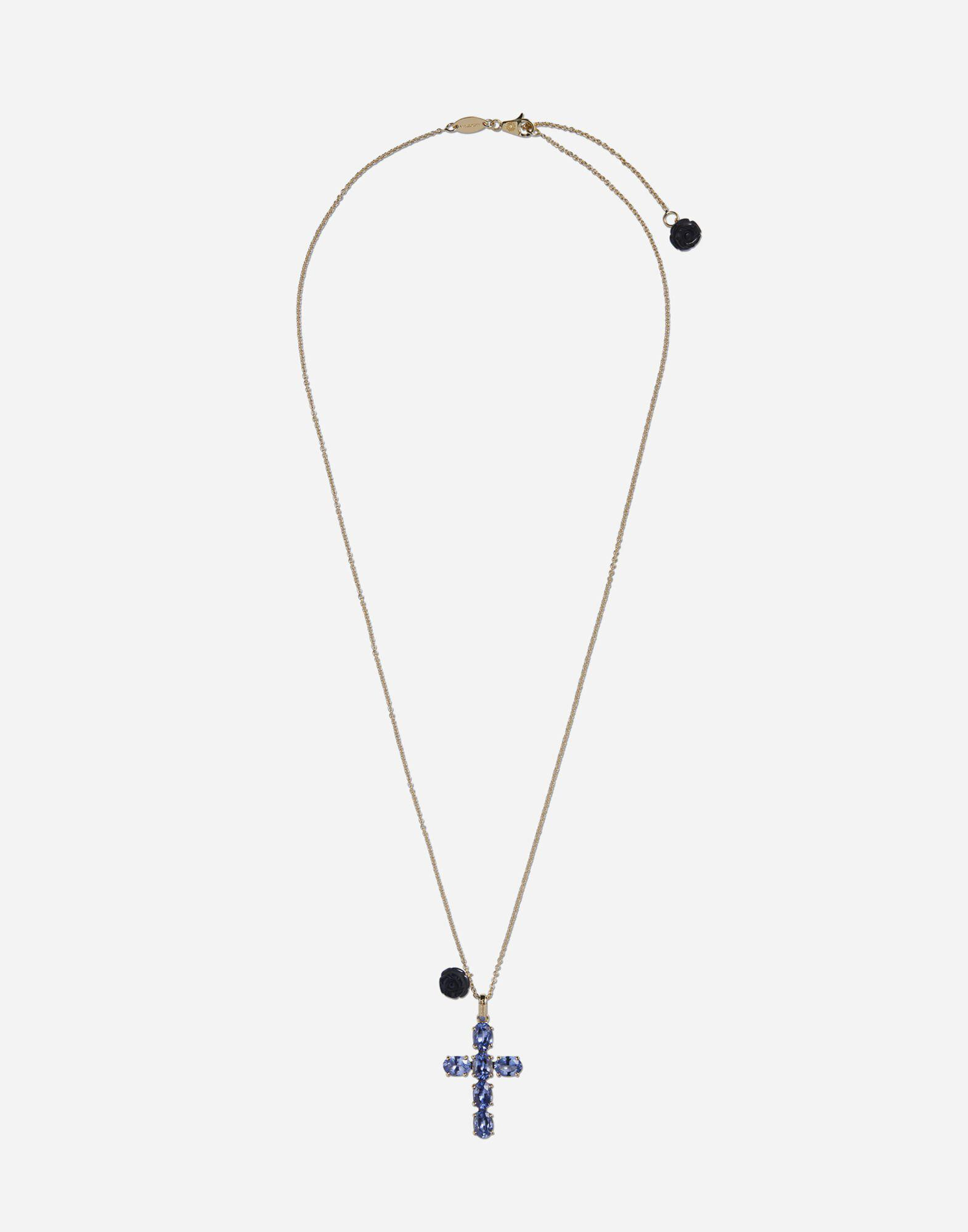 Family cross and rose pendats on yellow gold chain