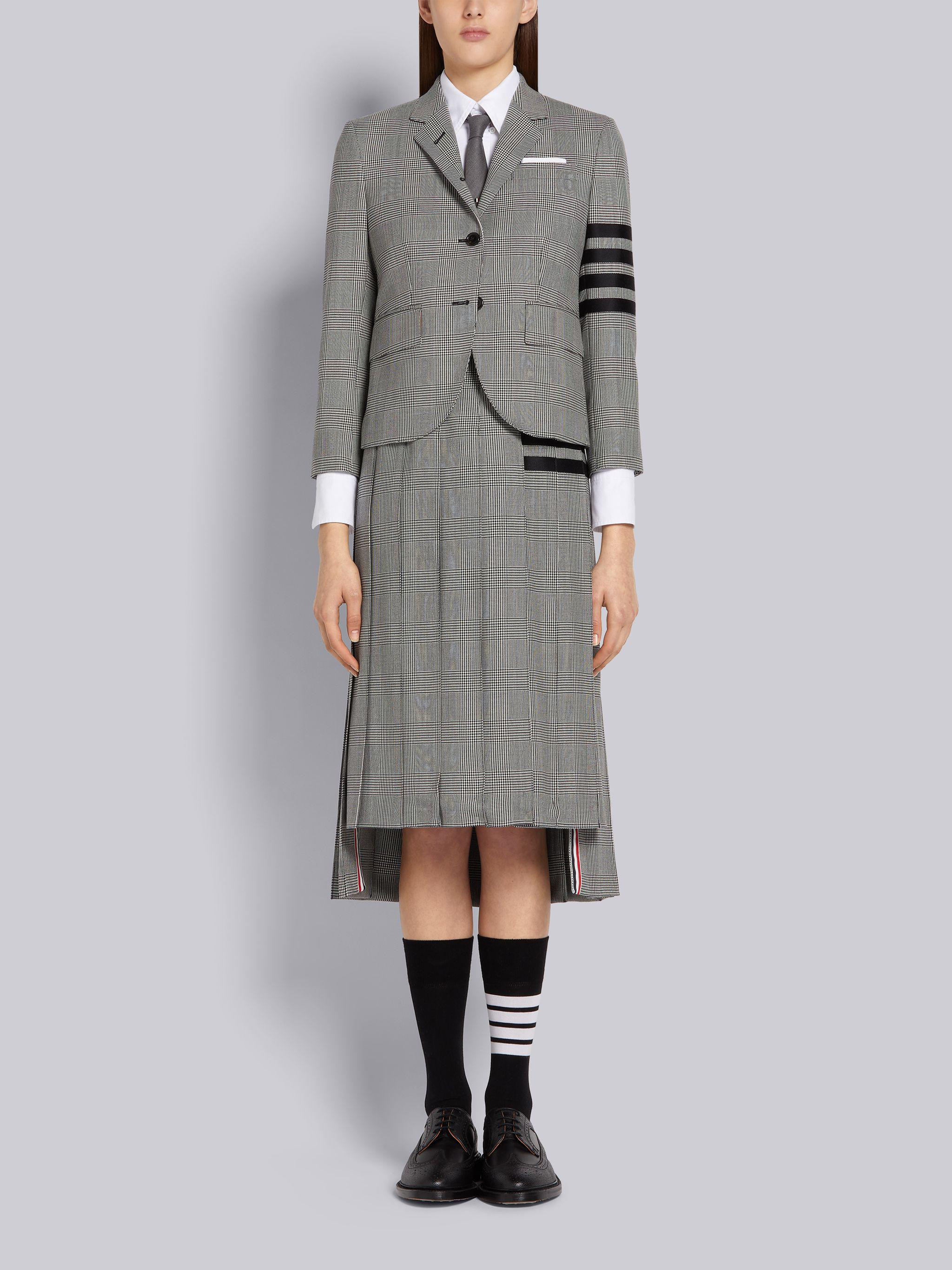 Black and White Wool Houndstooth High Armhole 4-Bar Jacket 3
