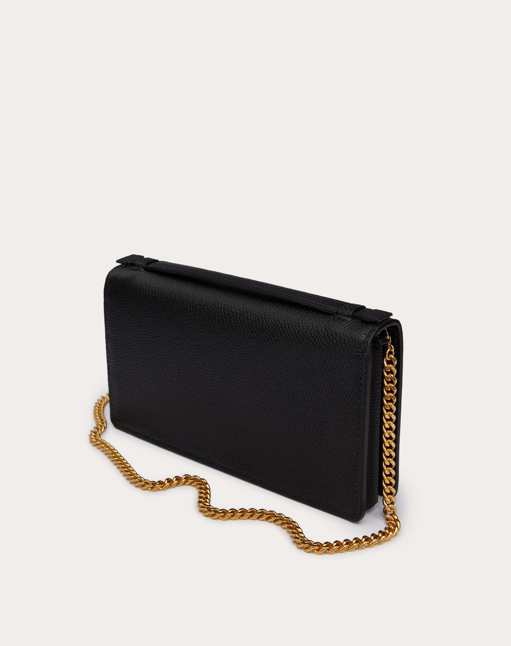 VLOGO SIGNATURE GRAINY CALFSKIN WALLET WITH CHAIN 2
