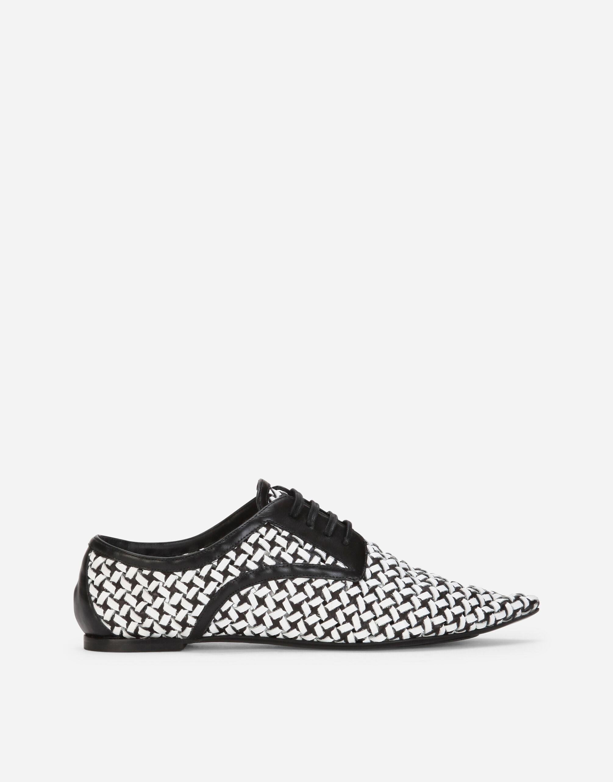 Two-tone woven calfskin Derby shoes