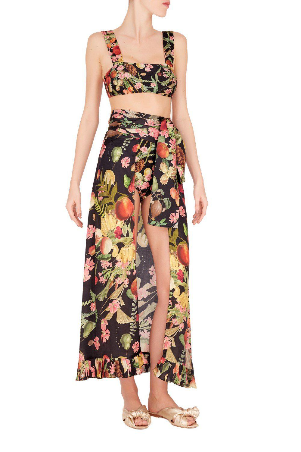 Fruits Exotiques Long Skirt With Frills