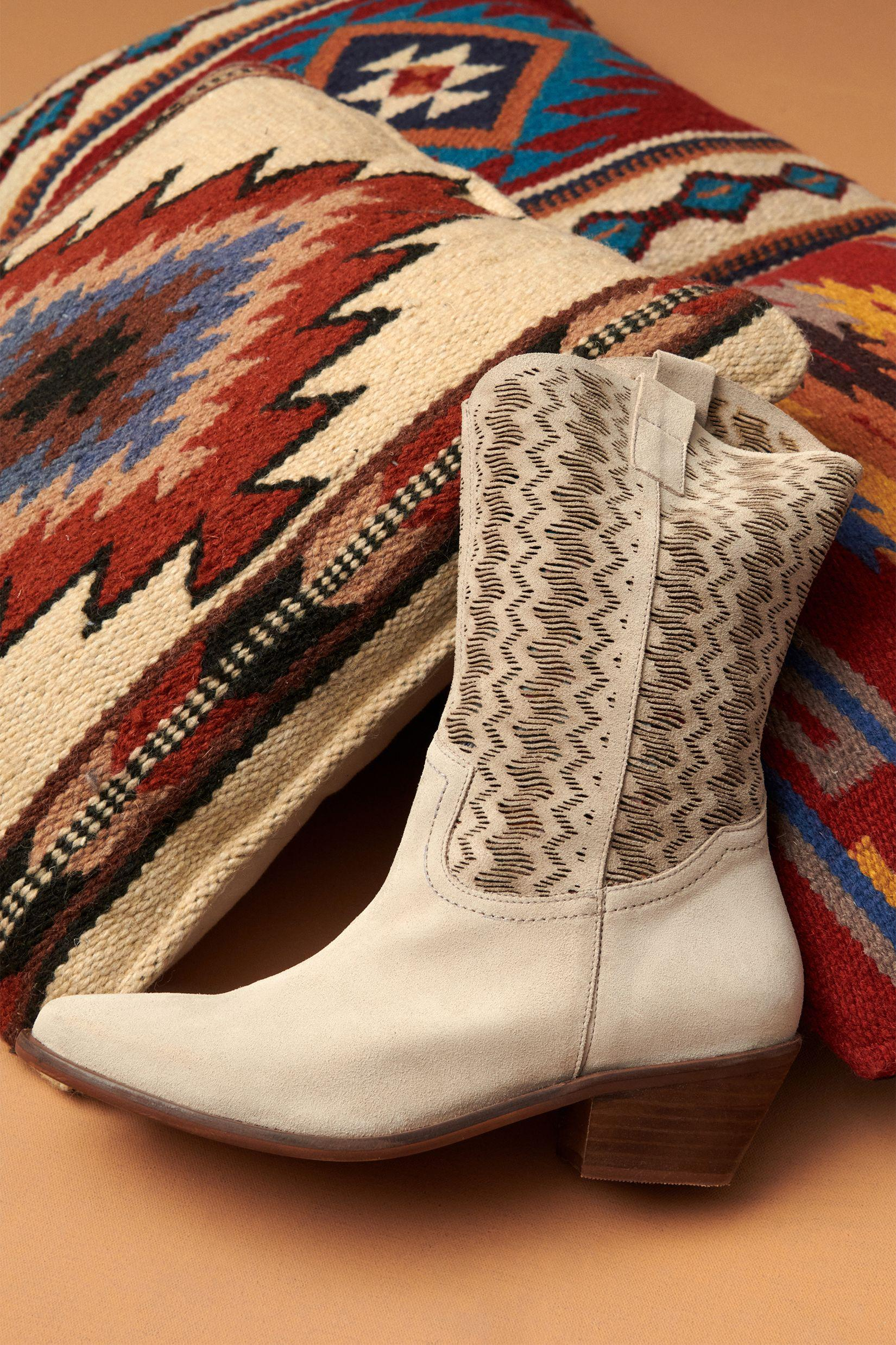 Cut-Out Suede Western Boots 4