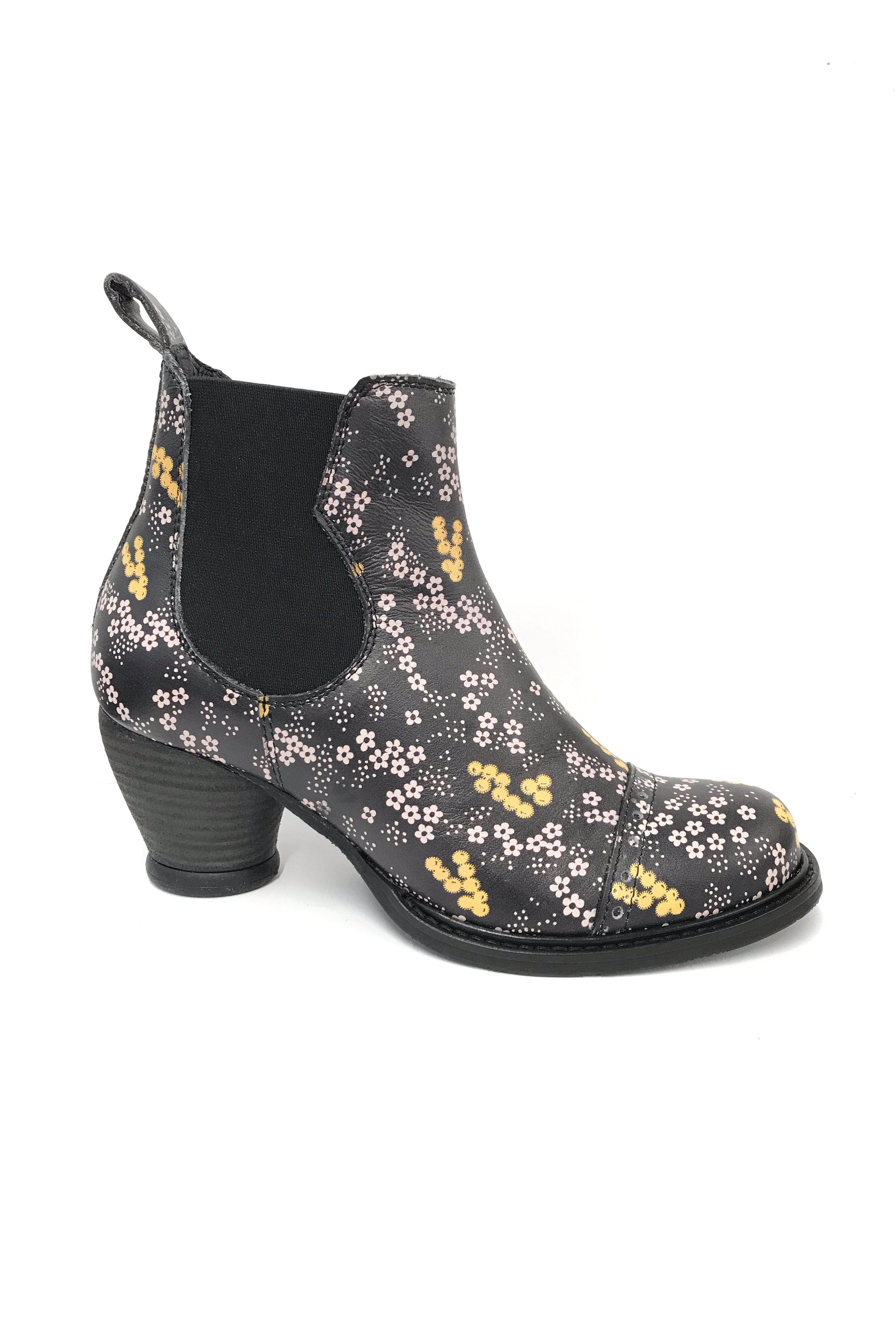 Ditsy Blooms Chelsea Boot Black