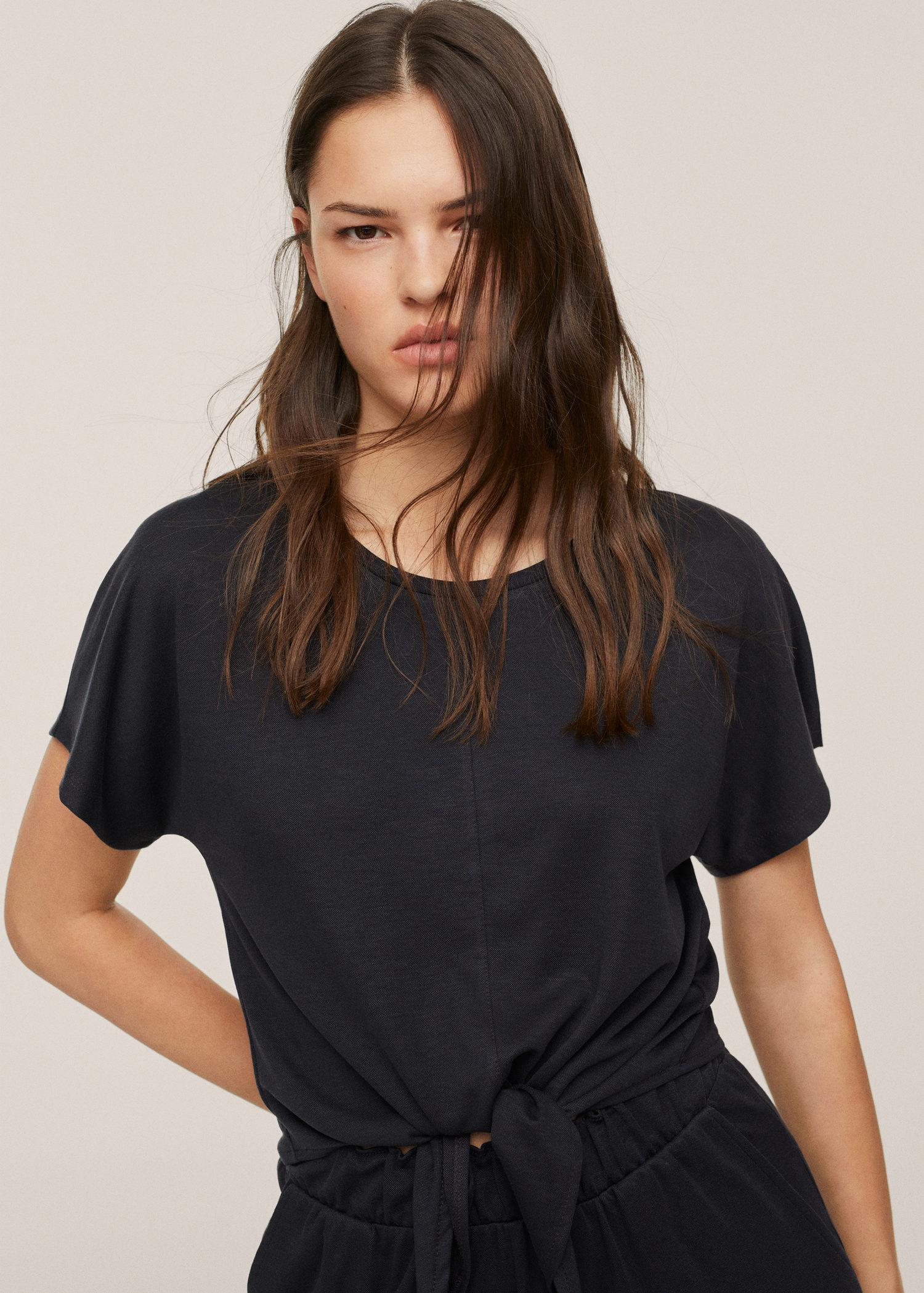Knotted lyocell t-shirt