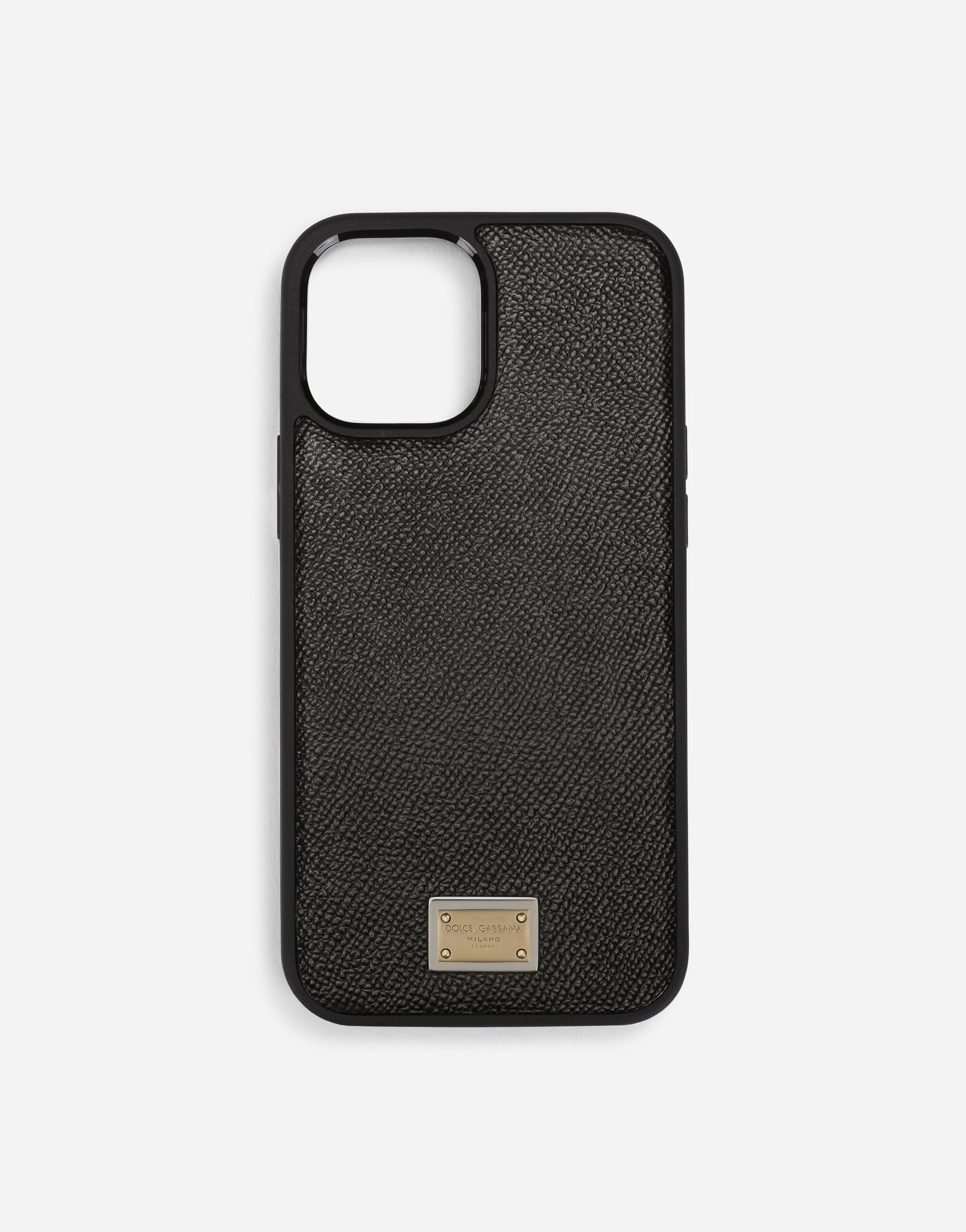 Dauphine calfskin iPhone 12 Pro Max cover with plate