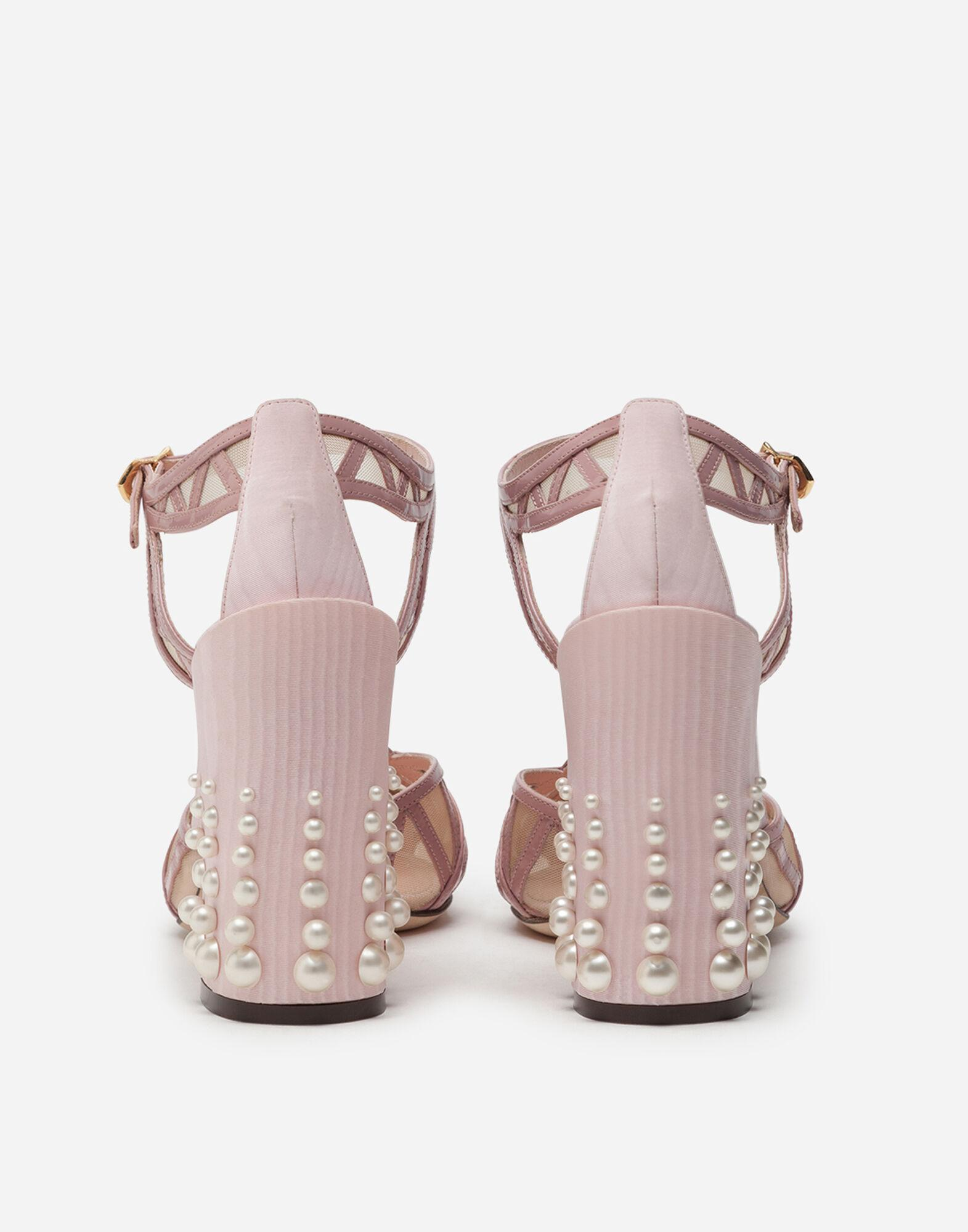 Mixed material ankle strap shoes with pearl embroidery 2