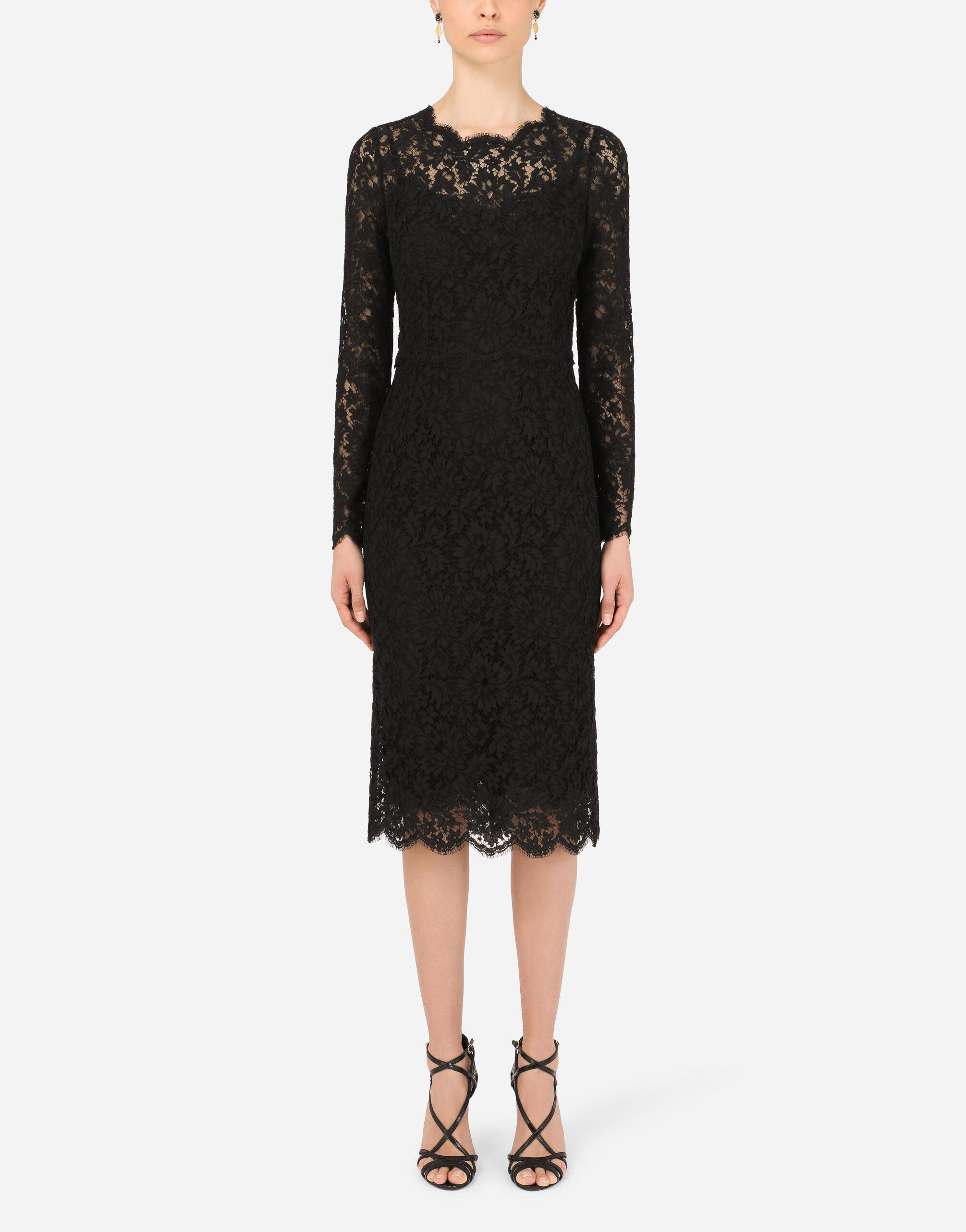 Long-sleeved calf-length dress in cordonetto lace