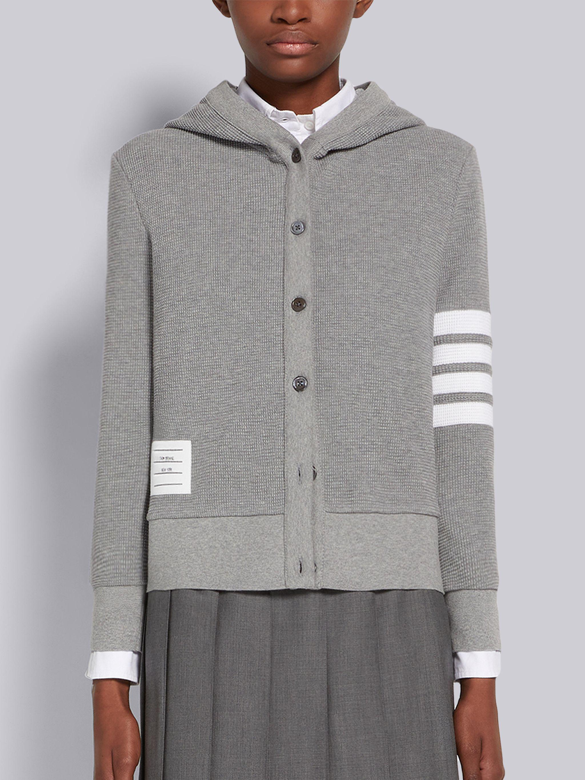 Light Grey Compact Waffle Seamed in 4-Bar Hooded Cardigan