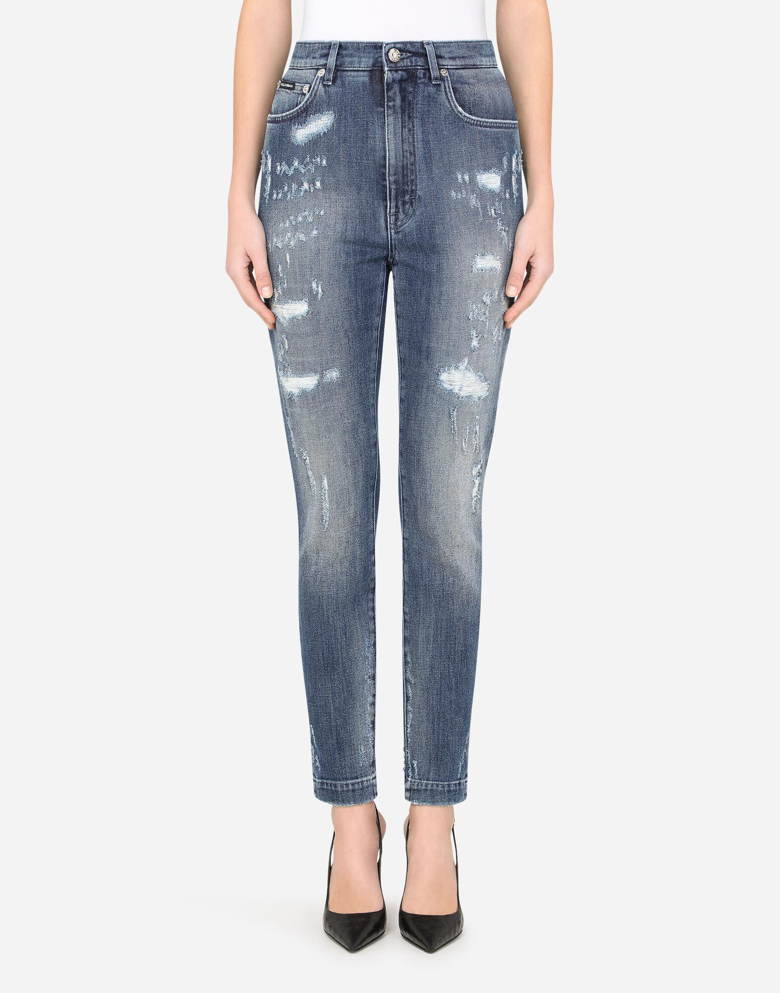 Audrey jeans in blue denim with rips