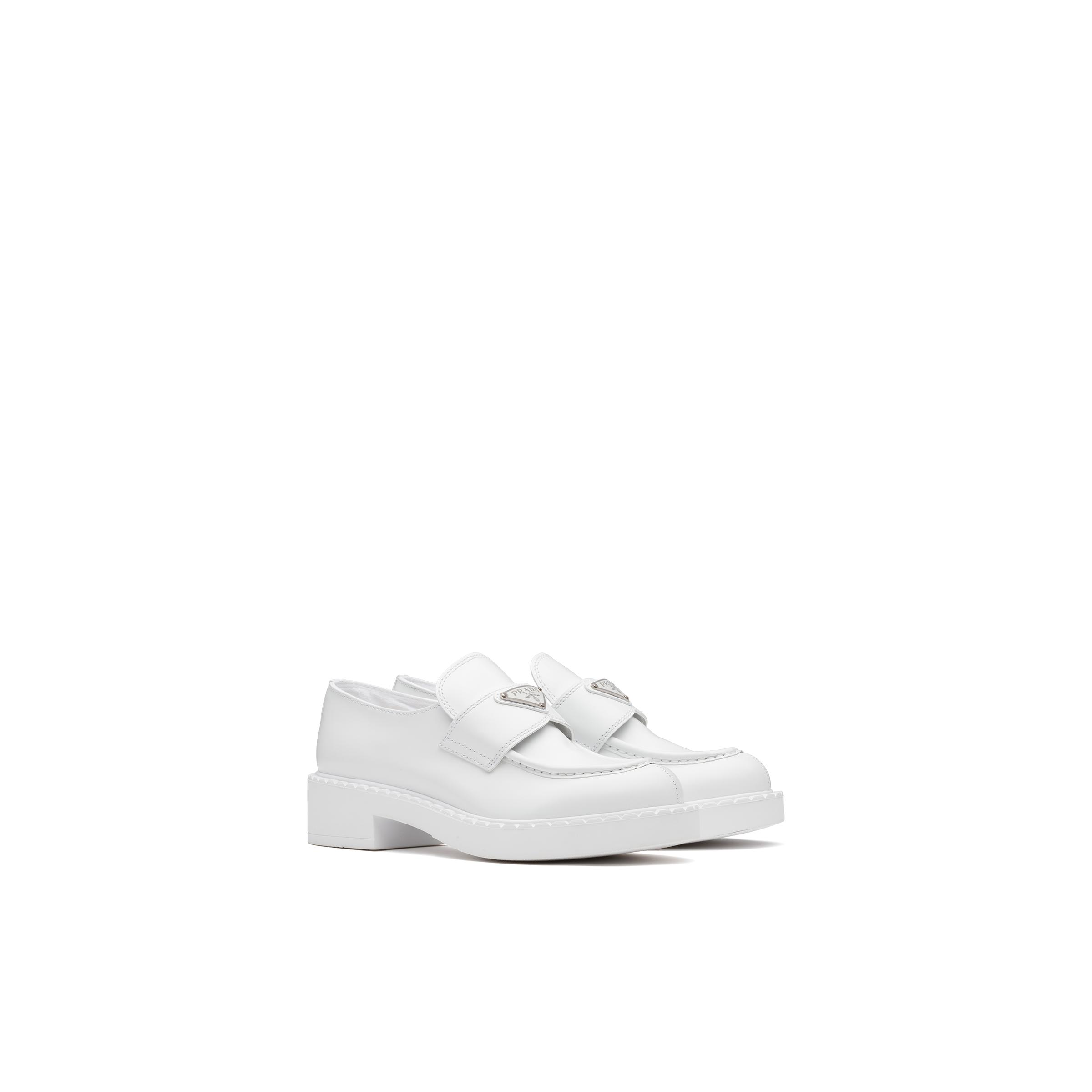 Brushed Leather Loafers Women White