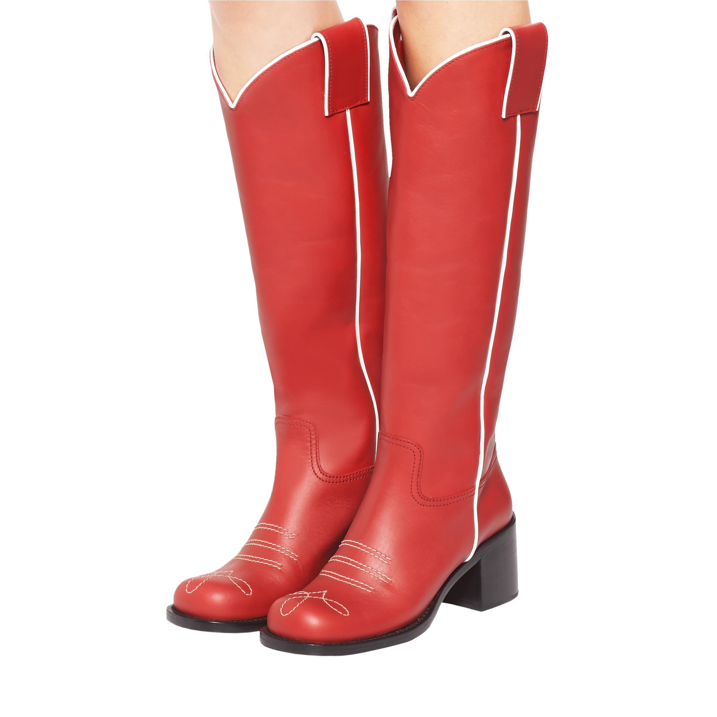 Leather Boots Women Ruby Red/white 3