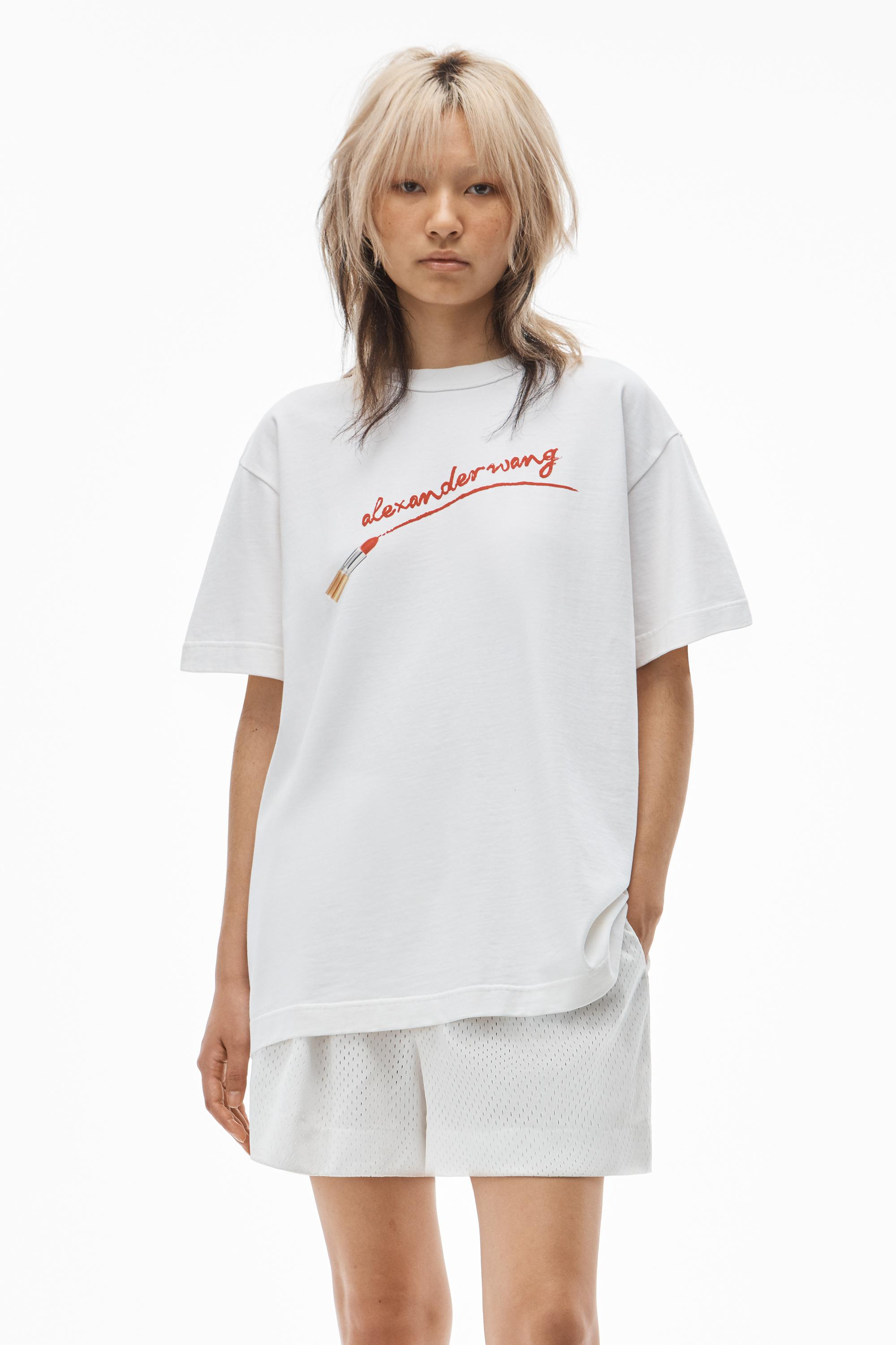 short-sleeve lipstick graphic tee in compact jersey
