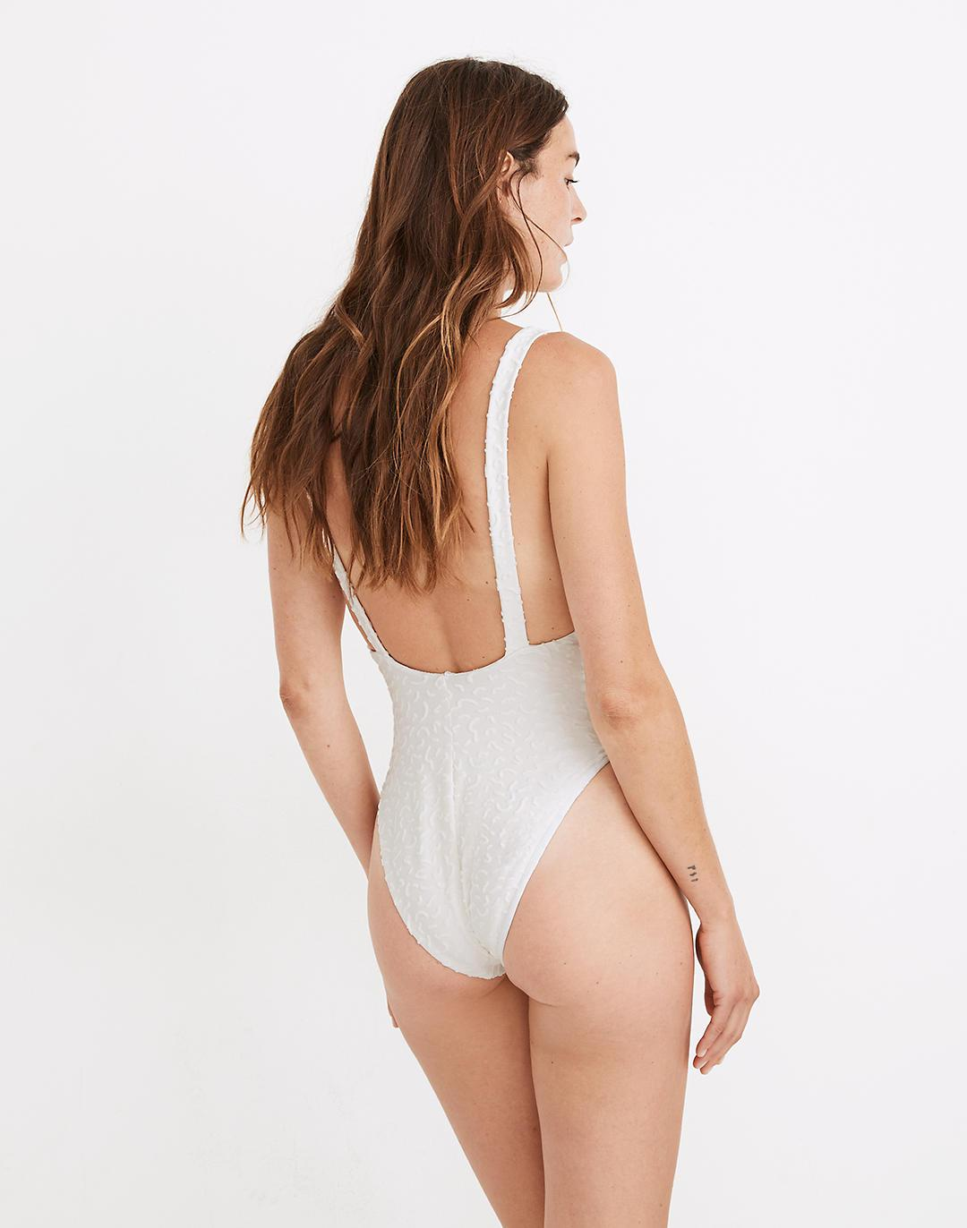 Madewell Maillot One-Piece Swimsuit in Bold Squiggles Jacquard 2