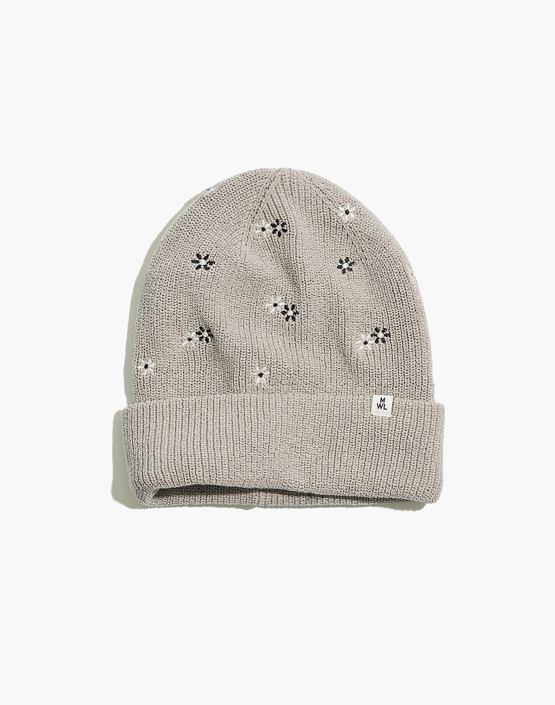 Daisy Embroidered Re(sourced) Cotton MWL Cuffed Beanie