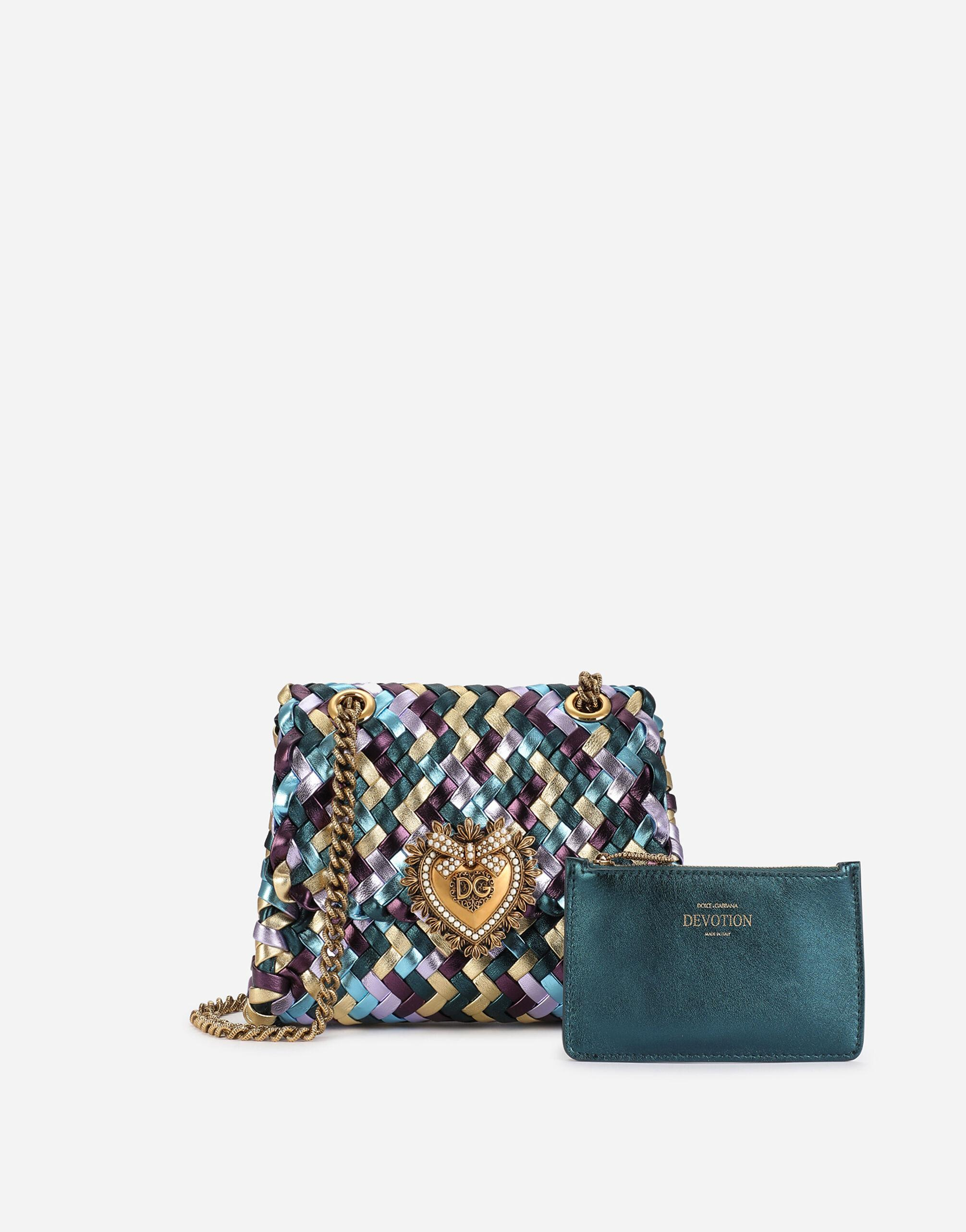 Small Devotion shoulder bag in woven laminated nappa leather 3