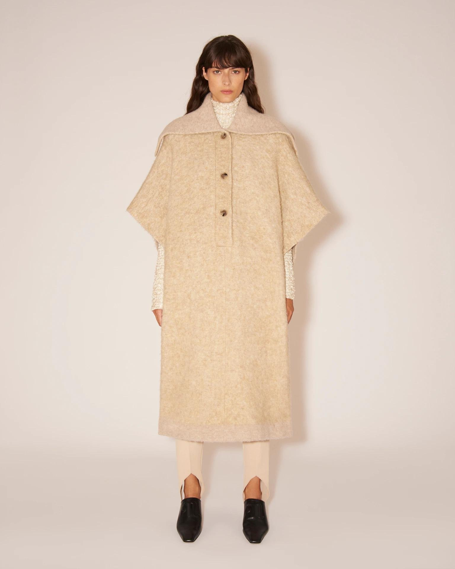 ROZALY - Knitted cape - Beige