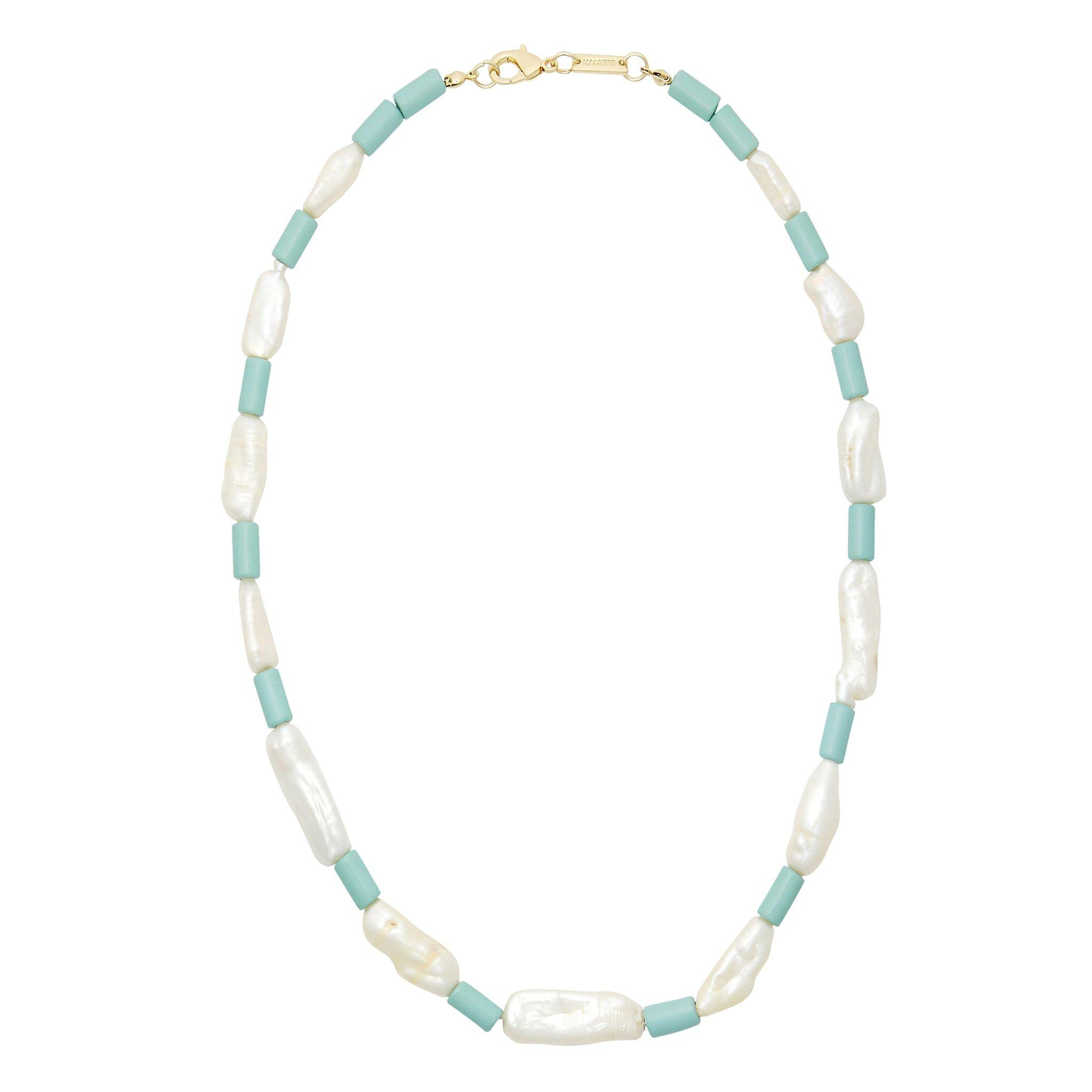 Beaded Biwa Pearl Necklace in Light Blue