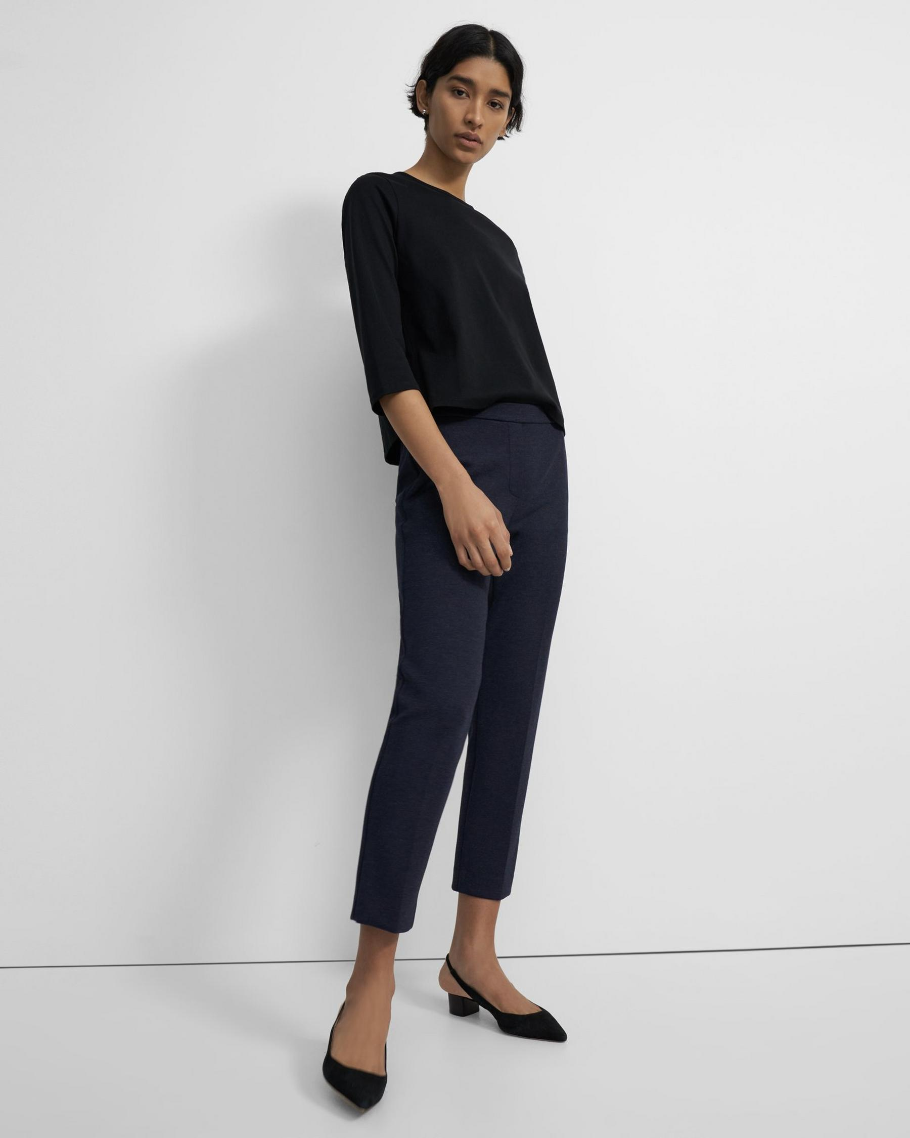 Treeca Pull-On Pant in Double-Knit Jersey