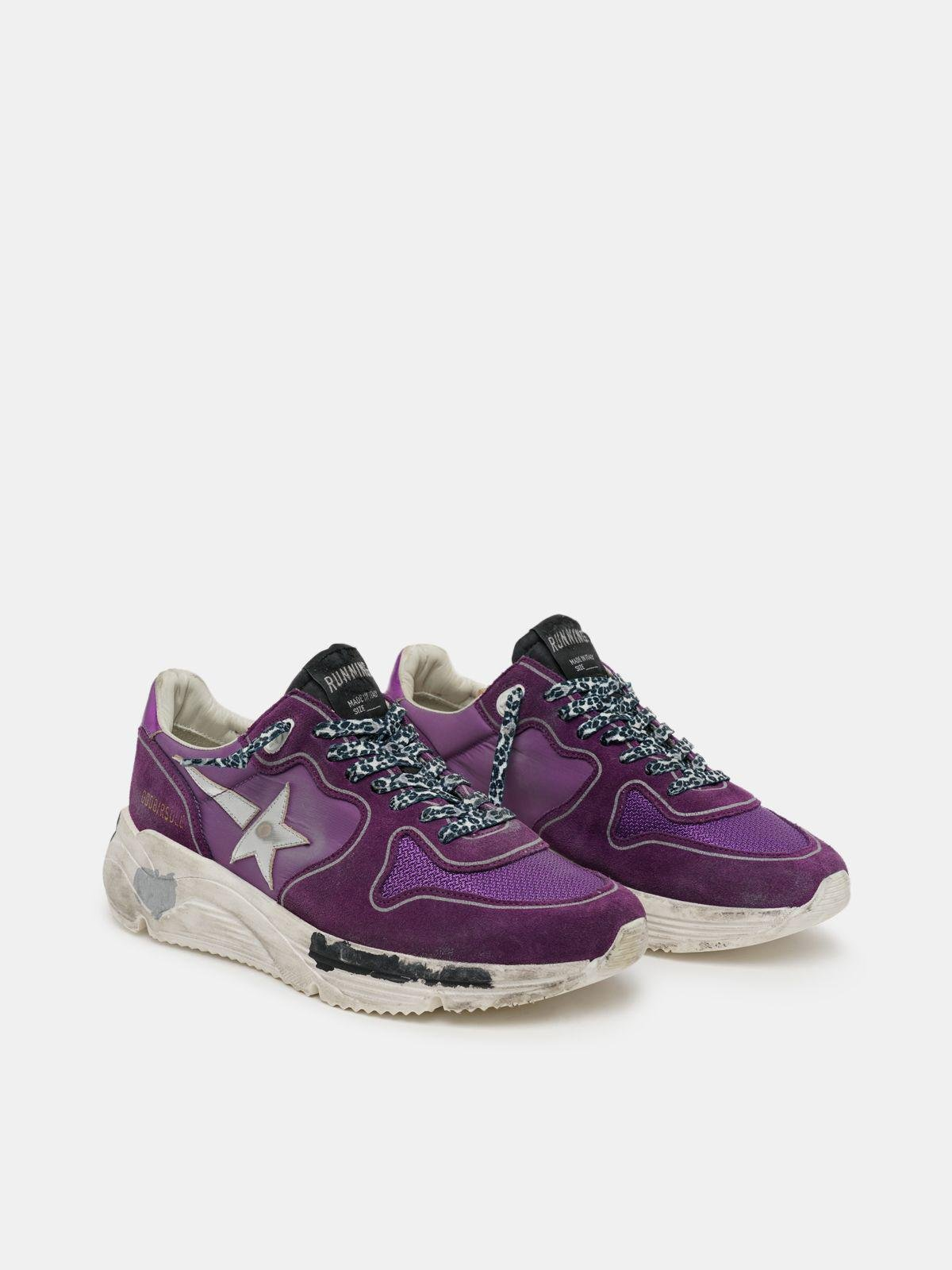 Suede, leather and mesh Running Sole sneakers with metallic purple heel tab 2