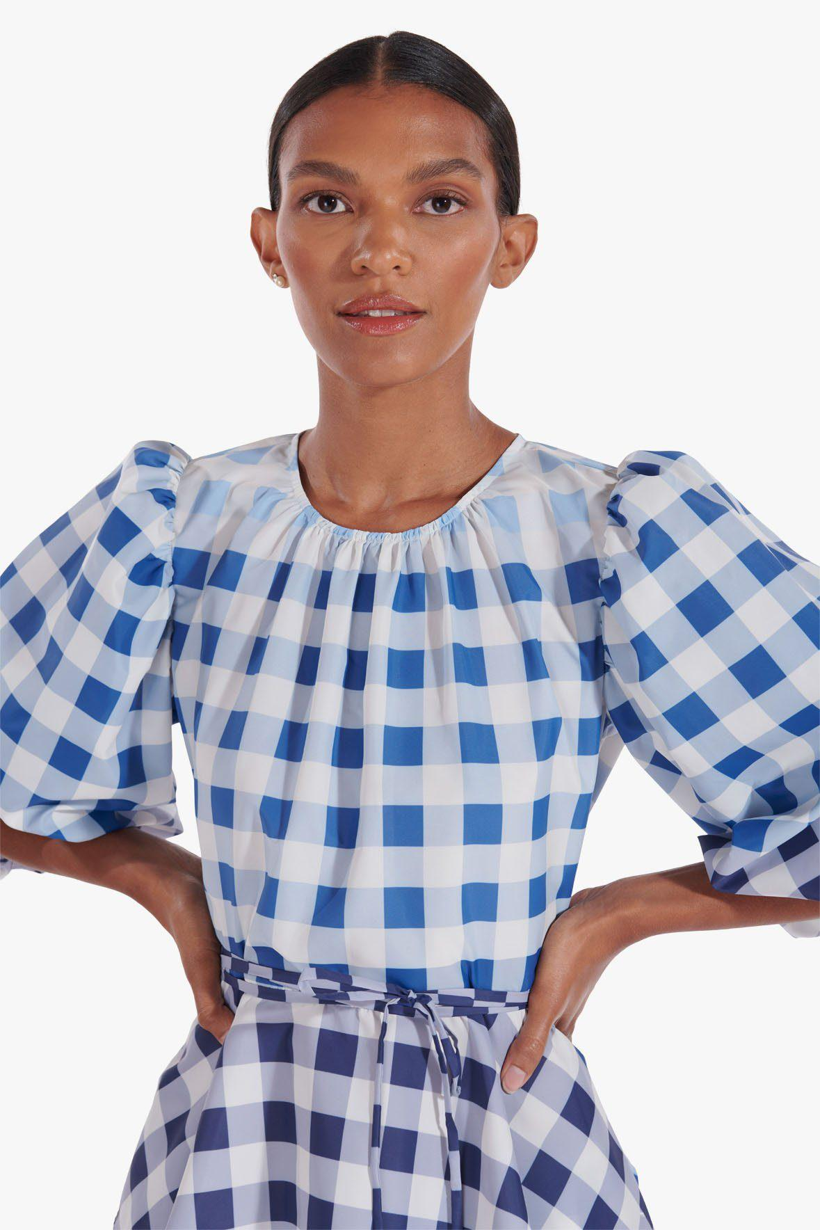 LAURENCE TOP | BLUE OMBRE GINGHAM