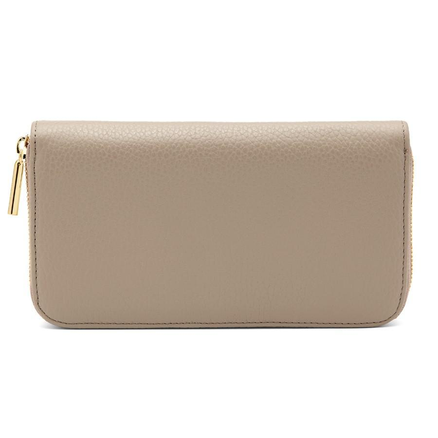 Women's Classic Zip Around Wallet in Stone/Red | Pebbled Leather by Cuyana