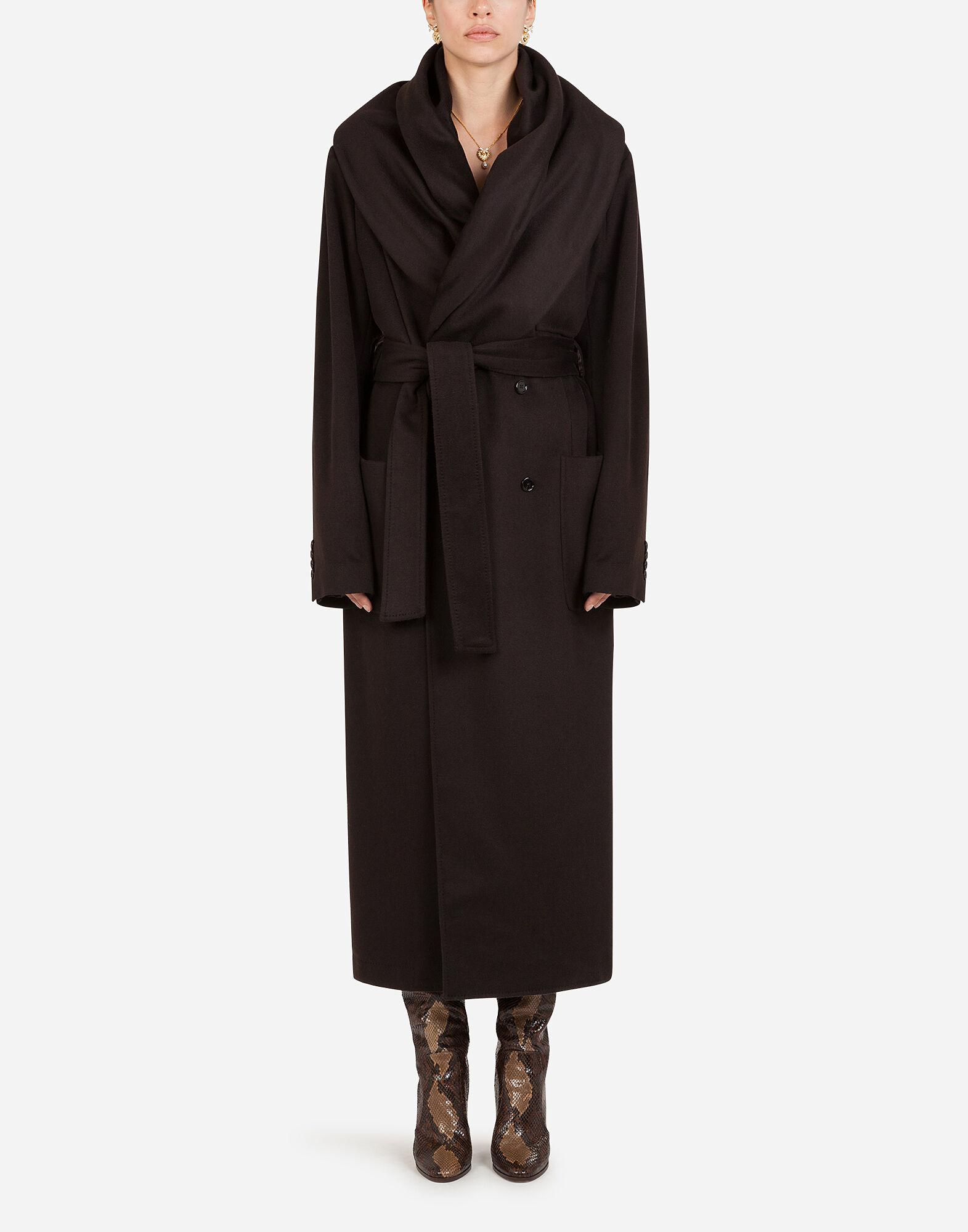 Belted cashmere robe coat